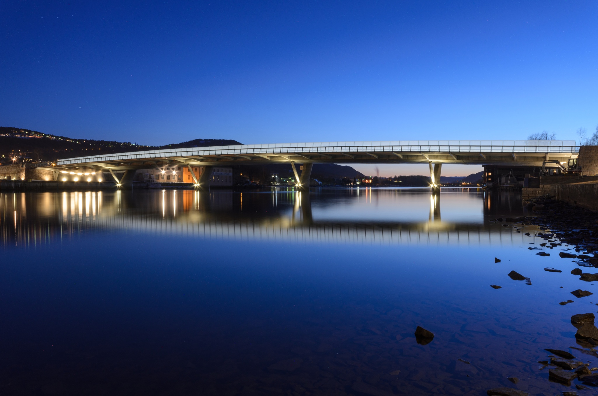 Blue hour over Drammen by Knut Arne Gjertsen