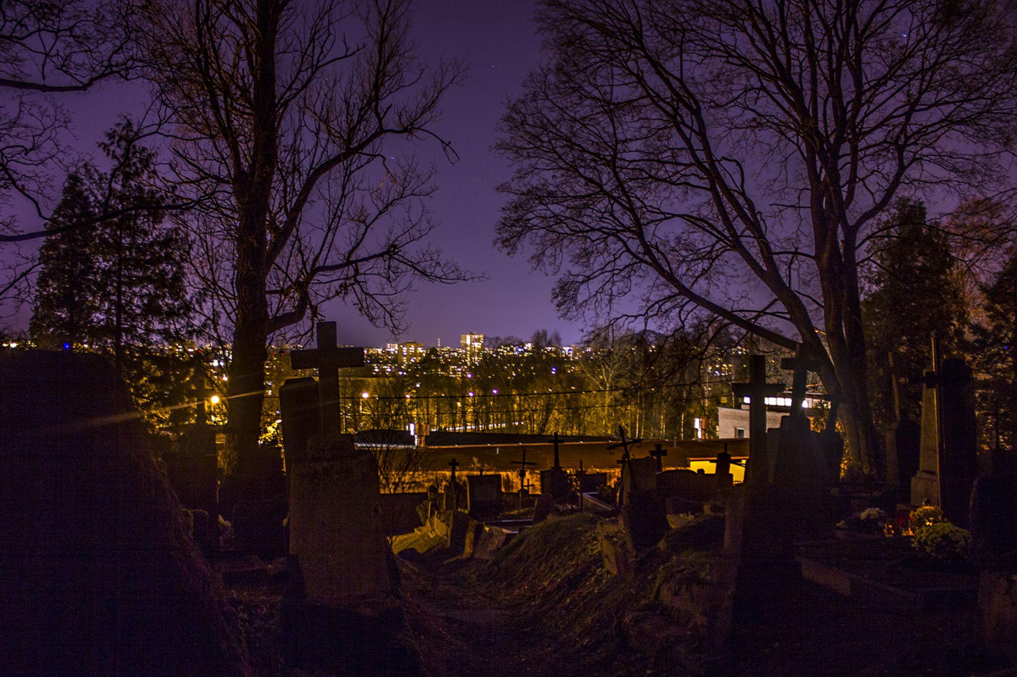 night at the cemetery by Jurij Kolesnikov