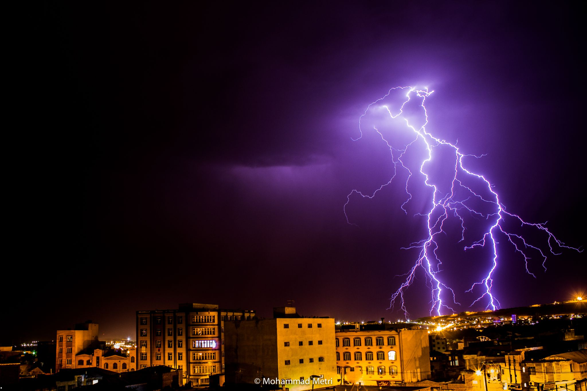 City on the fence lightning by mohammad.metri