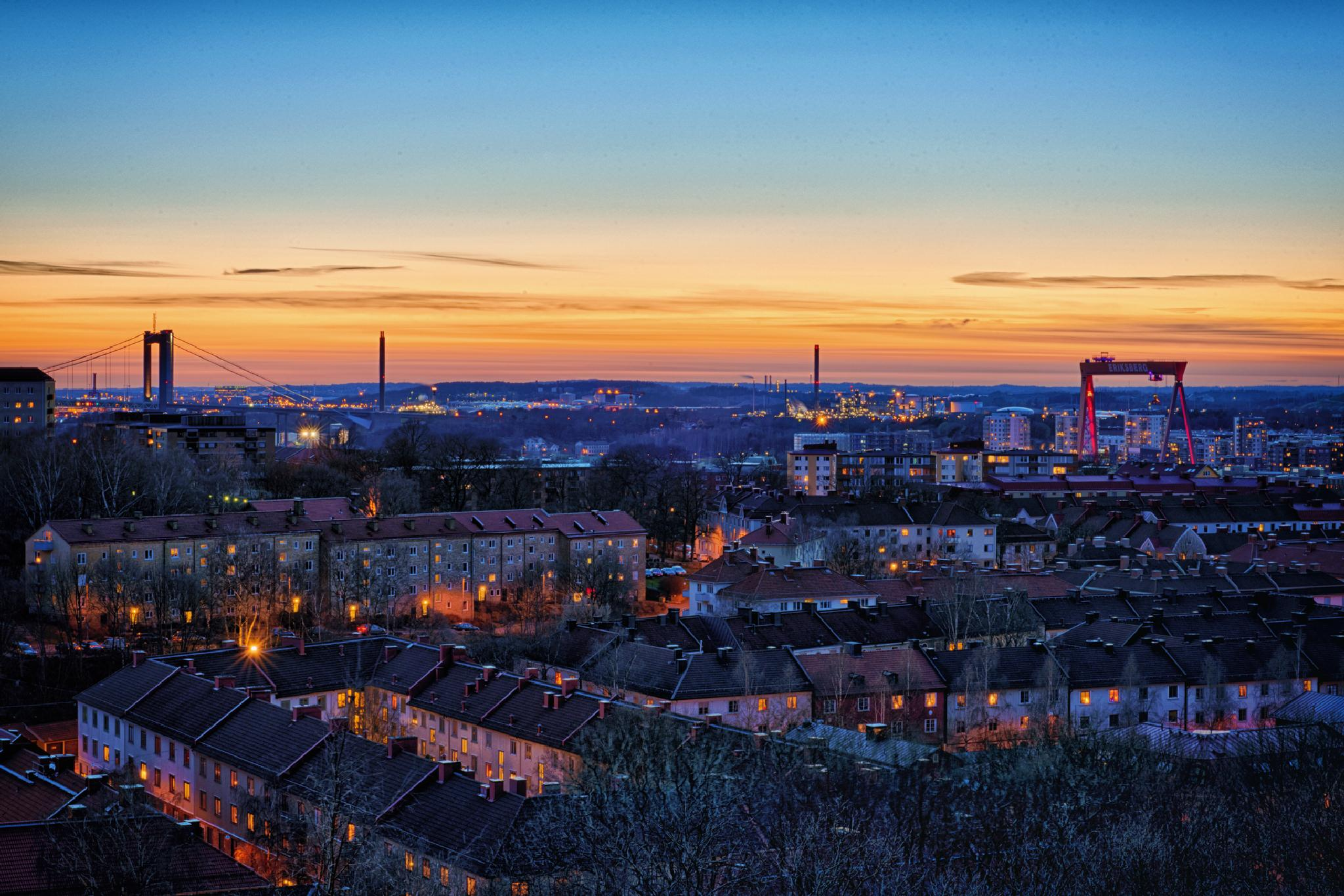 Sunset over Gothenburg by Peter Bergquist