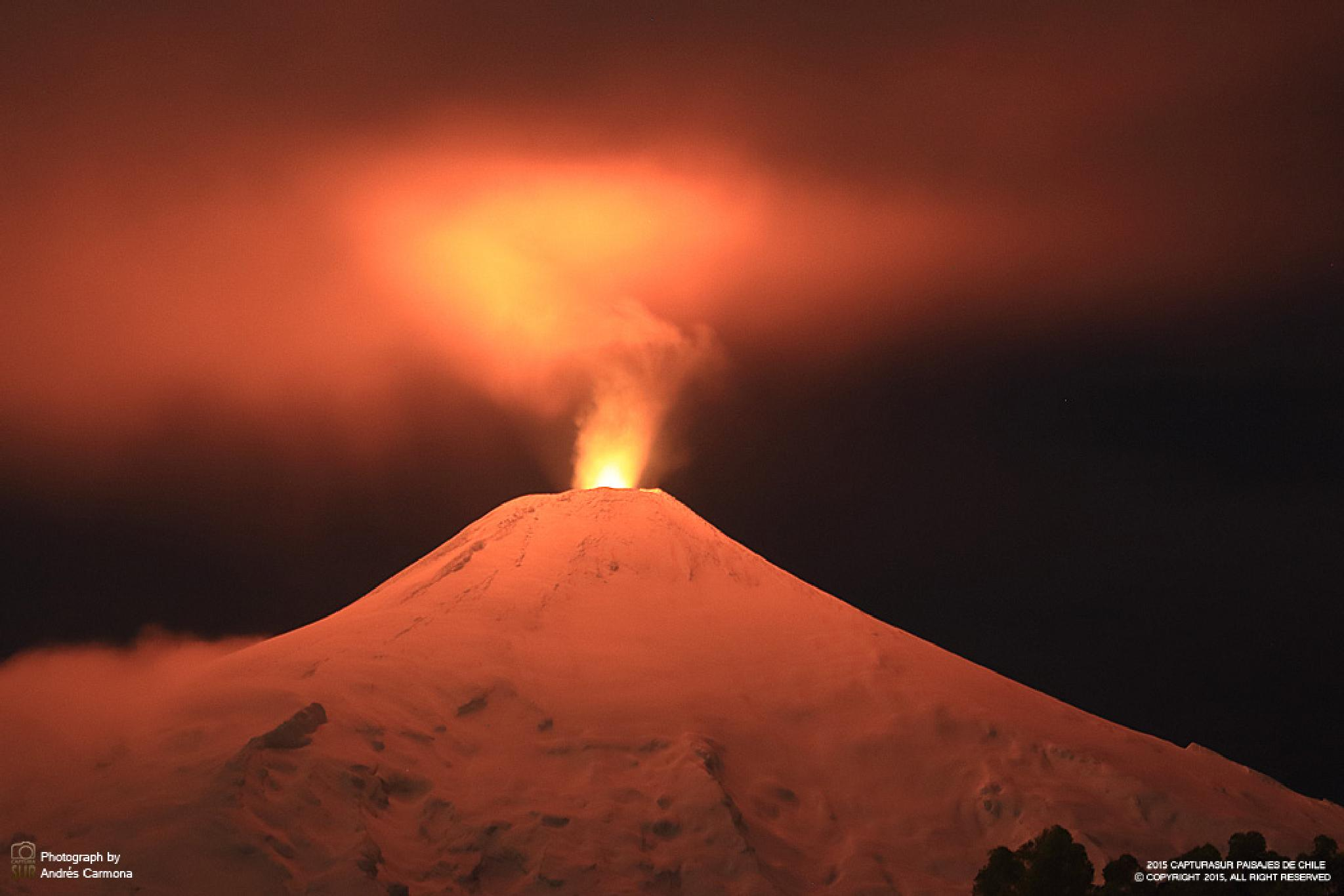 Photo in Landscape #vulcano #villarrica #chile #red