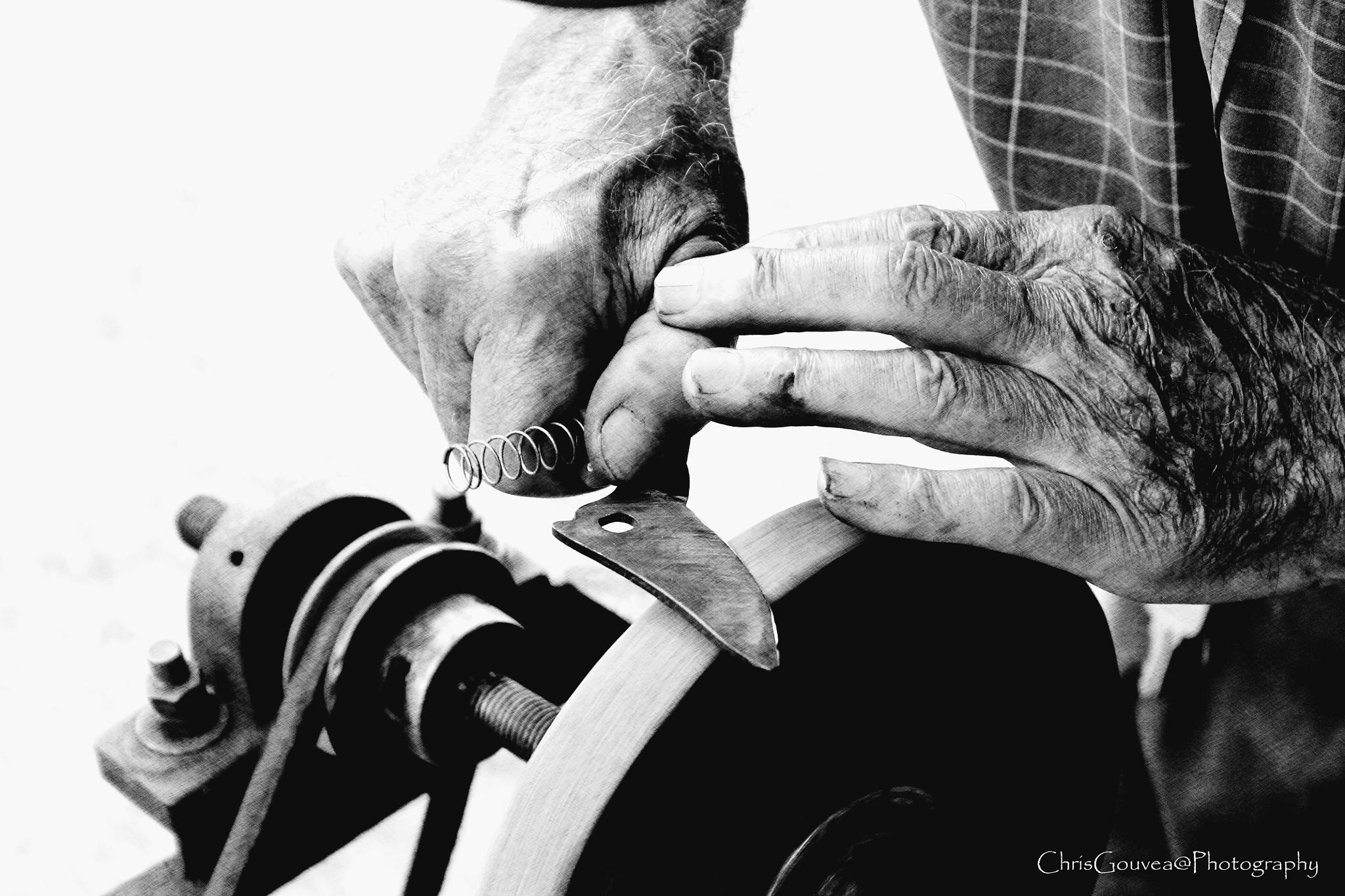 Photo in Black and White #old man #sharpener #b&w