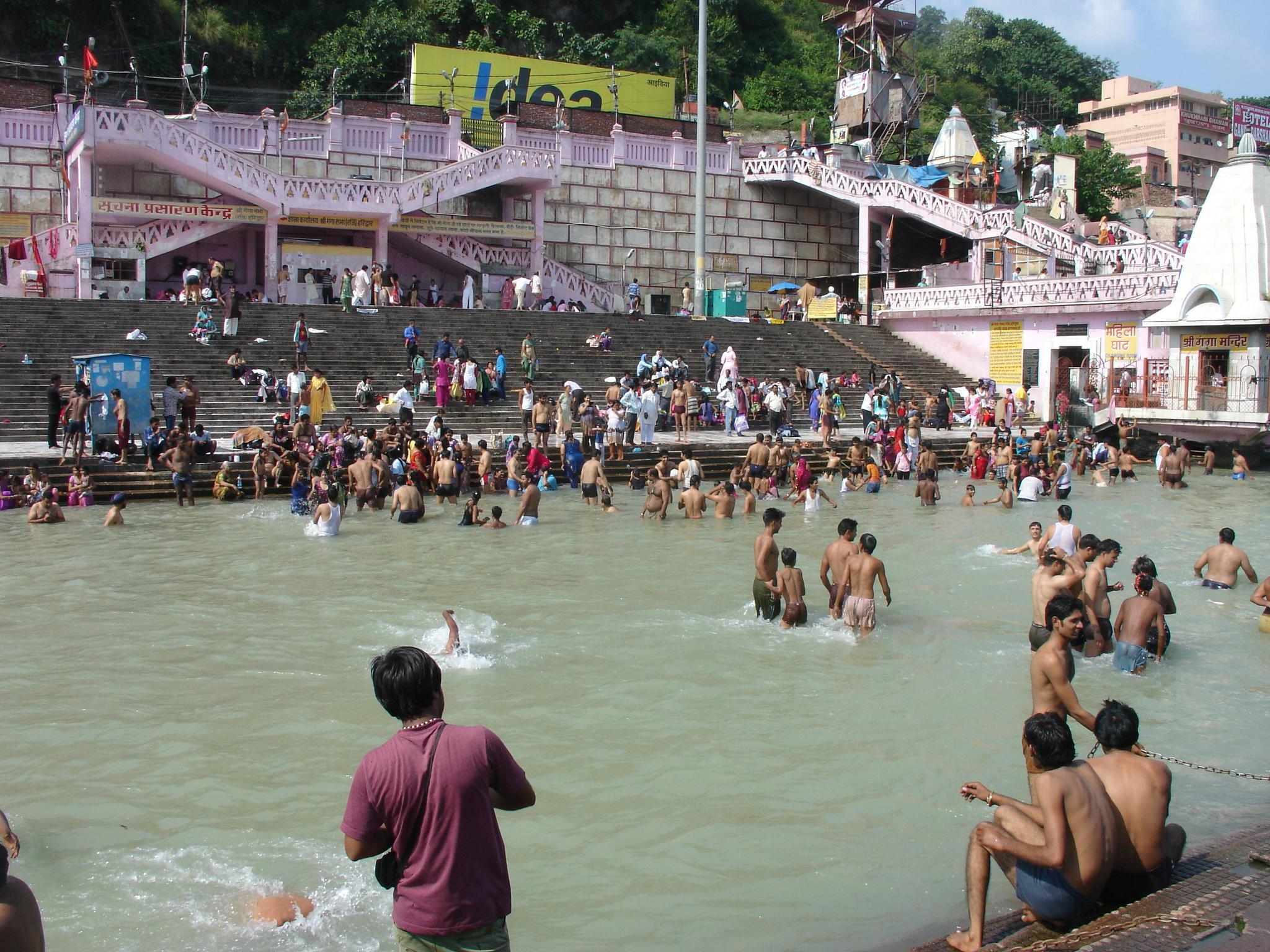 Holy Dip in the Ganges at Har Ki Pauri by Harinder Kandhari