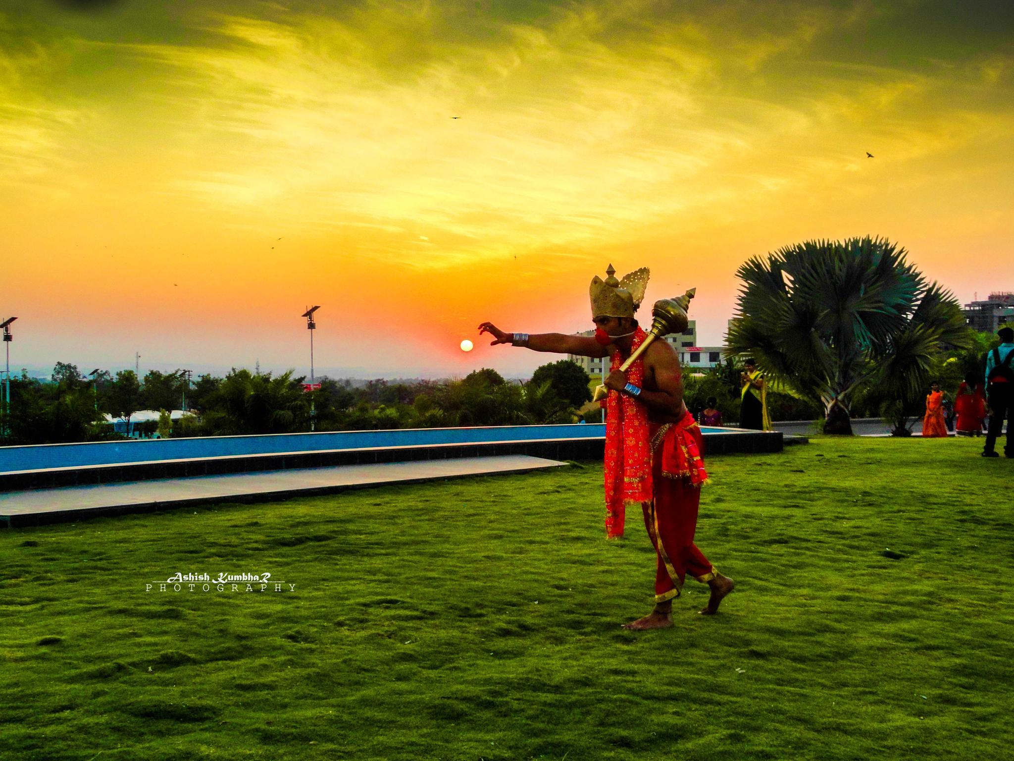 God Hanuman Trying To Chatch The Sun by Ashish Kumbhar