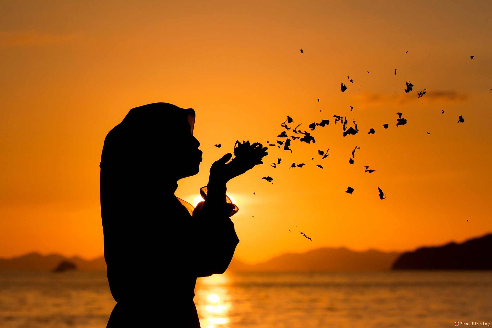 Silhouette Girl  by Pro Fishing Photographer