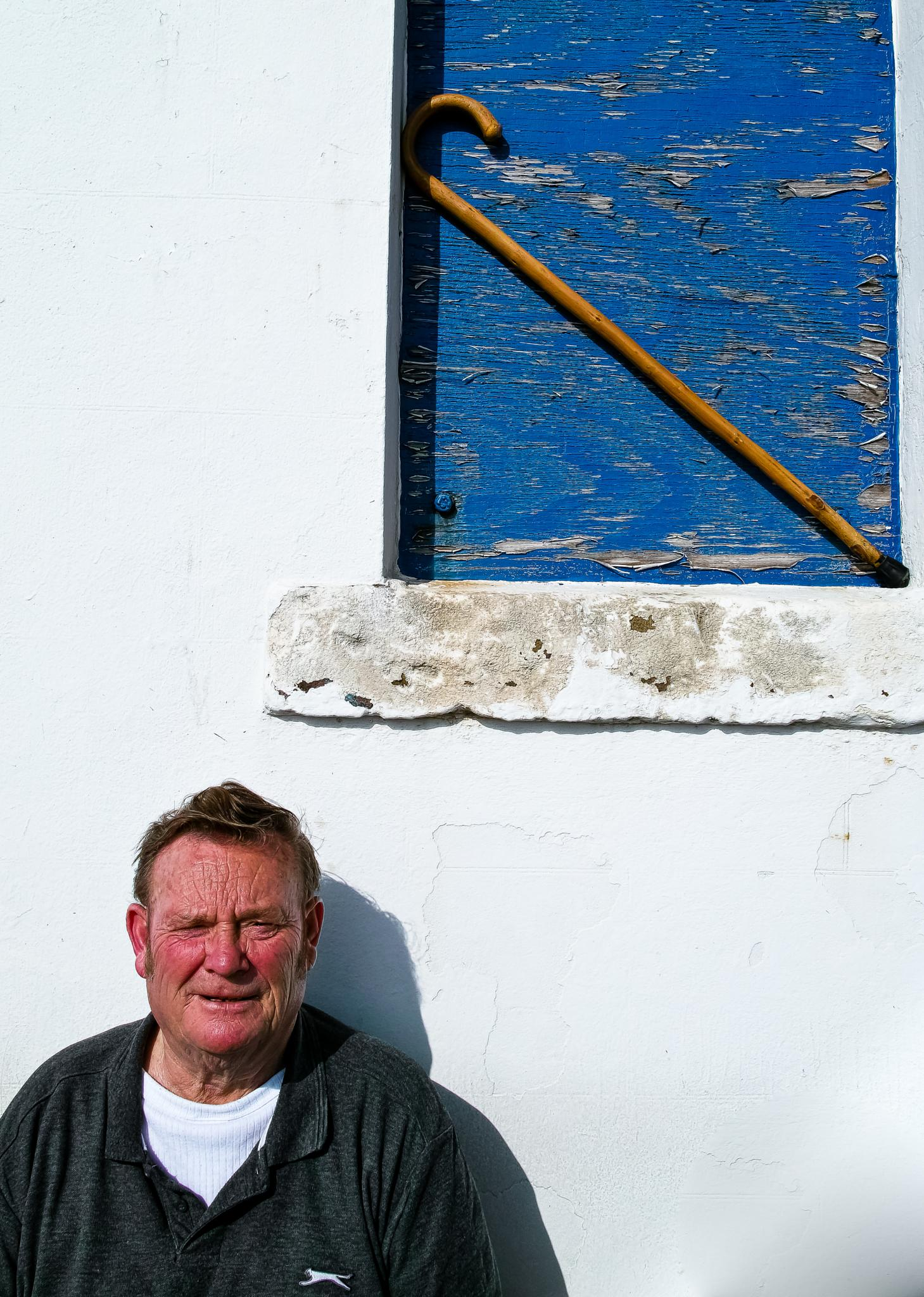 Old man & his walking stick by Peter Edwardo Vicente.