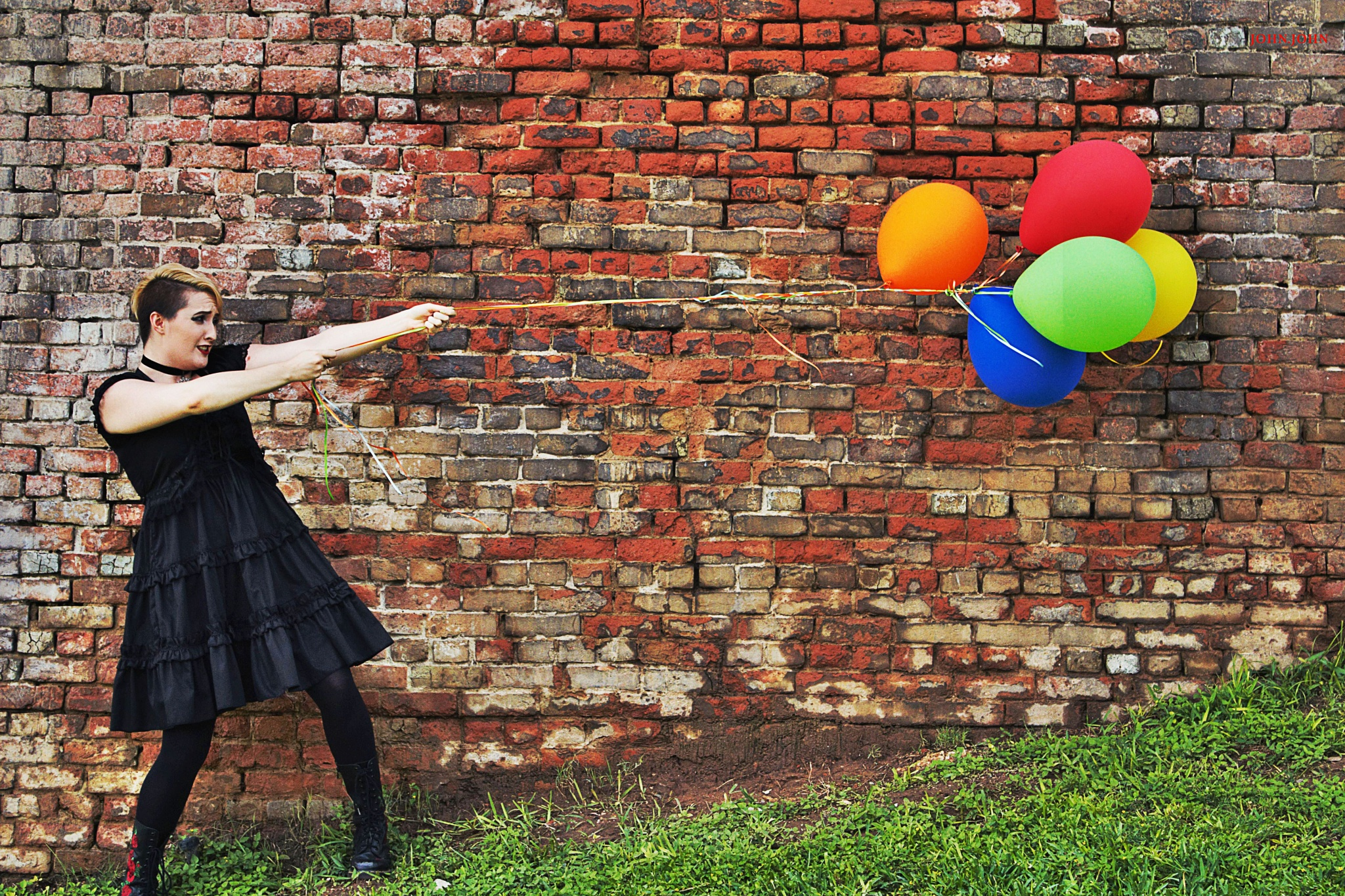 Photo in Fashion #model #ballons #colors #blackdress #dress #bricks #texas #wind #johnjohnphotos #femaleleadsinger #strong #gain #control #fashion #life #modelphotography