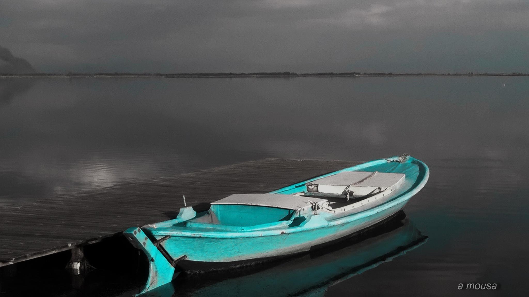 fishing boat at aquamarine colour by alexandra.tsamimousa