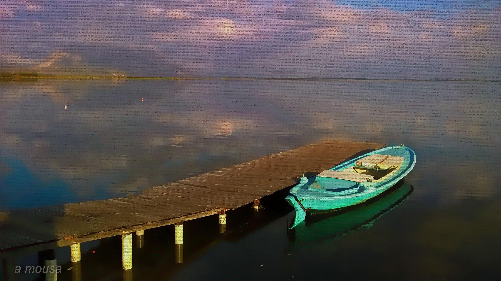 fishing boat at the lagoon by alexandra.tsamimousa