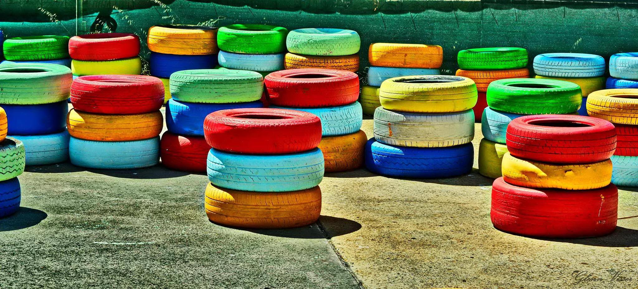 Brightly Coloured Tyres by Glenn Gerard