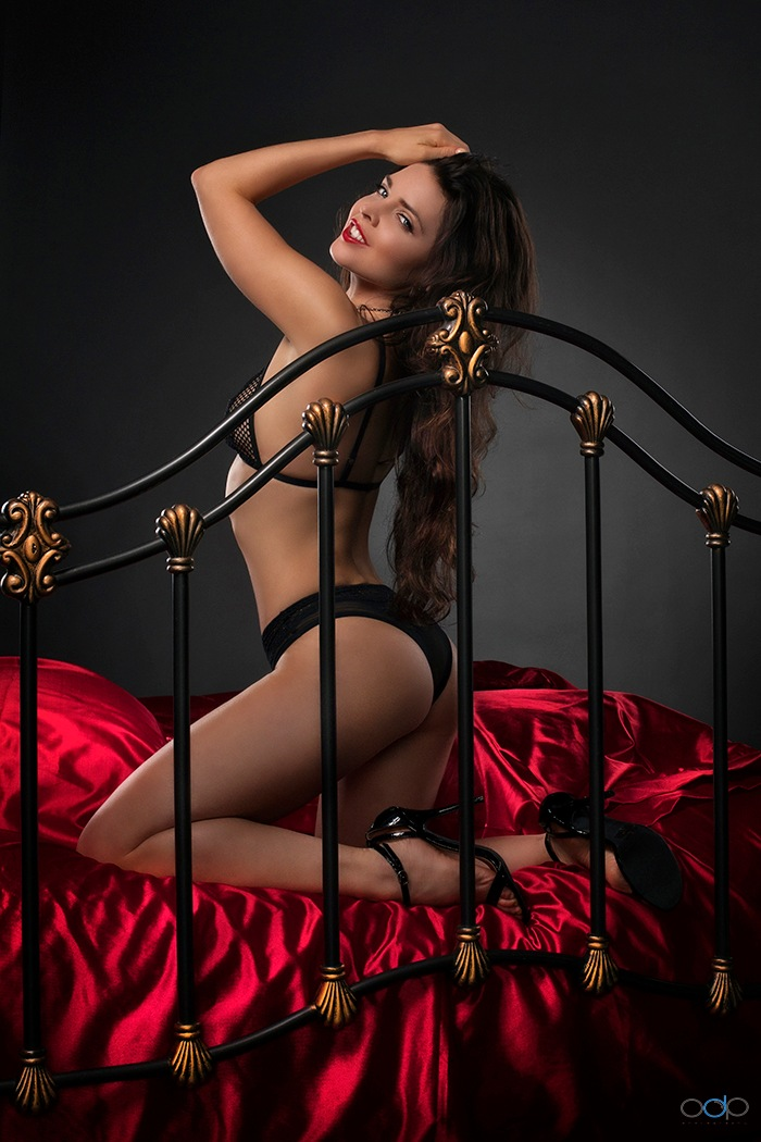 Pure Rebel lingerie and red satin sheets . . . #2 by OneDigitalPlacePhotography