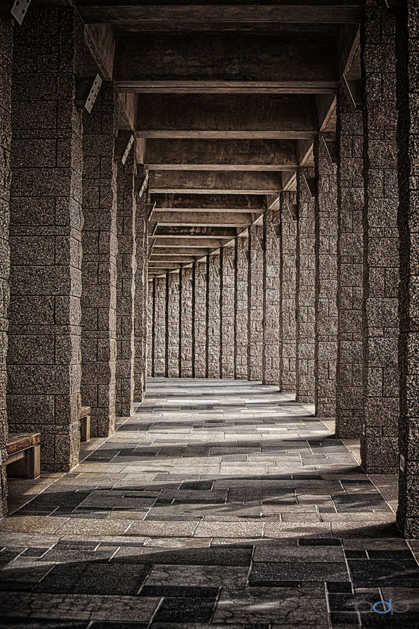 Columns perfectly aligned with shadows and sun light . . . by OneDigitalPlacePhotography