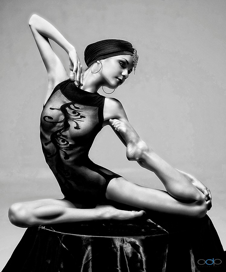 In the style of Erte artistic pose in black and white . . . #5 . . . by OneDigitalPlacePhotography