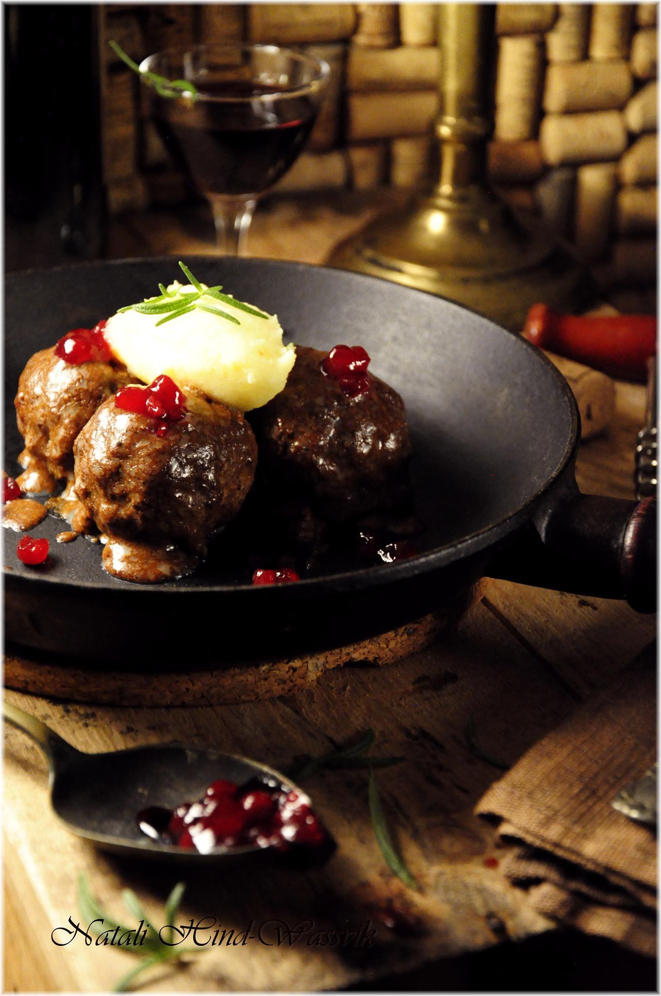 Swedish Meatballs with Mashed Potatoes, Cream Sauce and Lingonberry Jam by natalja.hind.wassvik