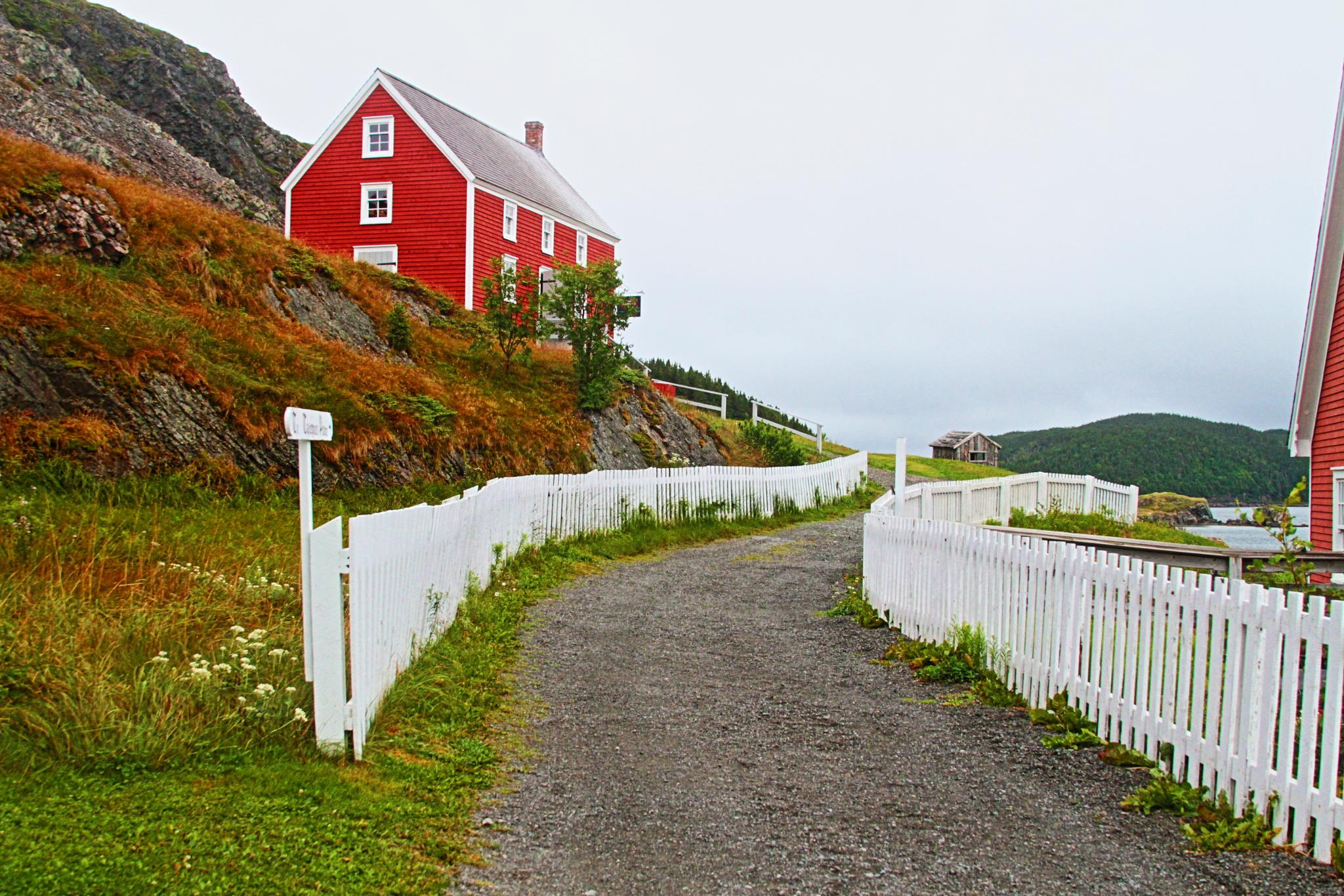 Lane to red house by Robert Pelletier