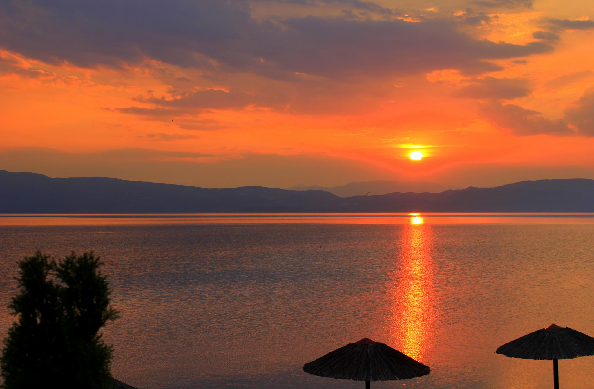 Sunset over Lake Ohrid by selien.kimpe