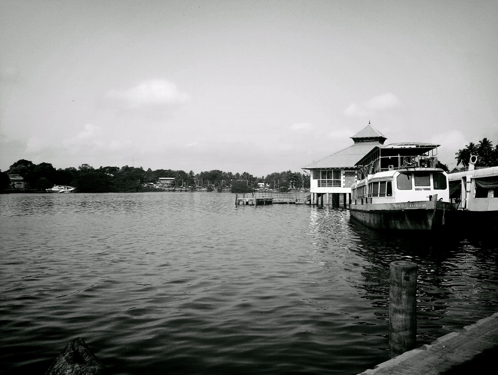 Boat Jetty - Black & White by Jayakumar Y