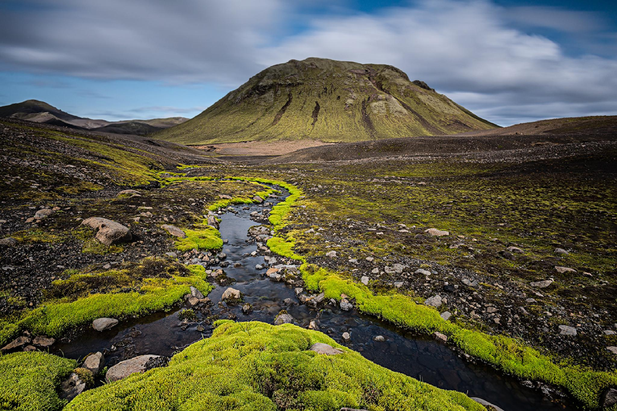 Photo in Landscape #iceland #highlands #landscape #green #long exposure #moss #mountain #clouds
