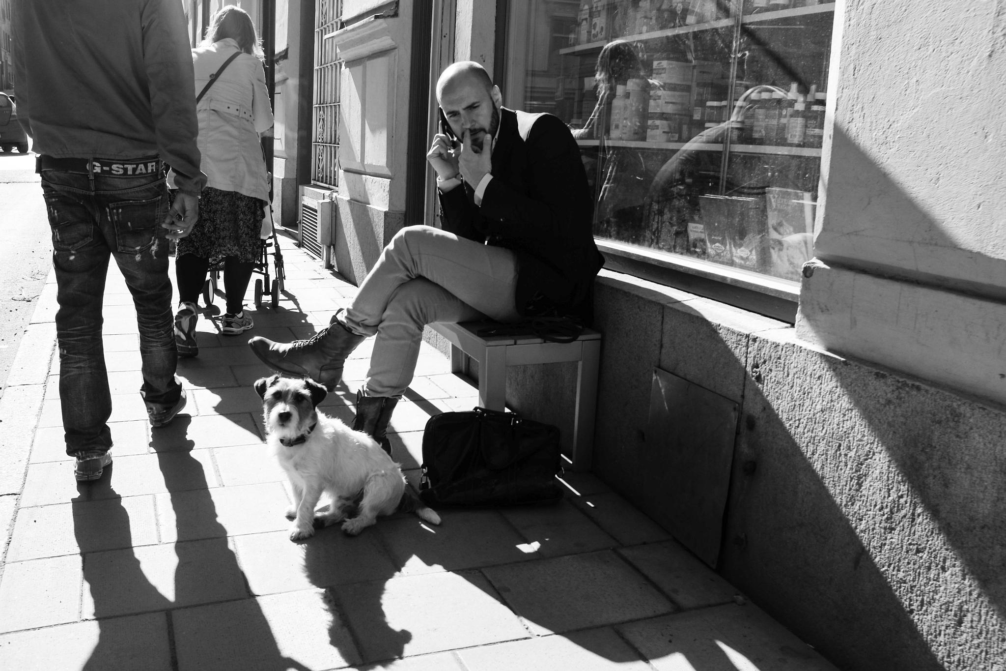 Man and his dog  by Angelicka Barua