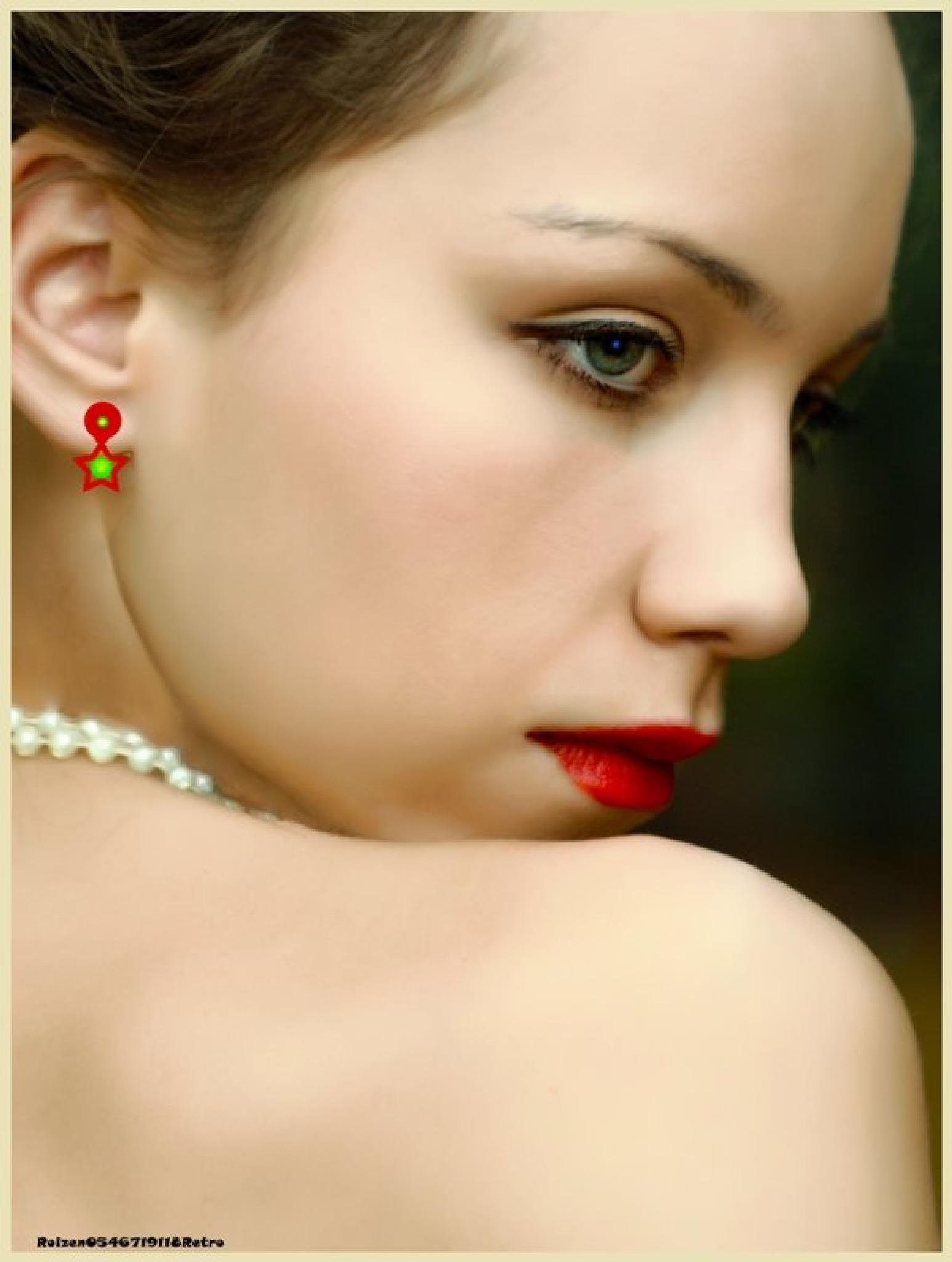 Girl with Earring by SHMUAL HAVA RETRO