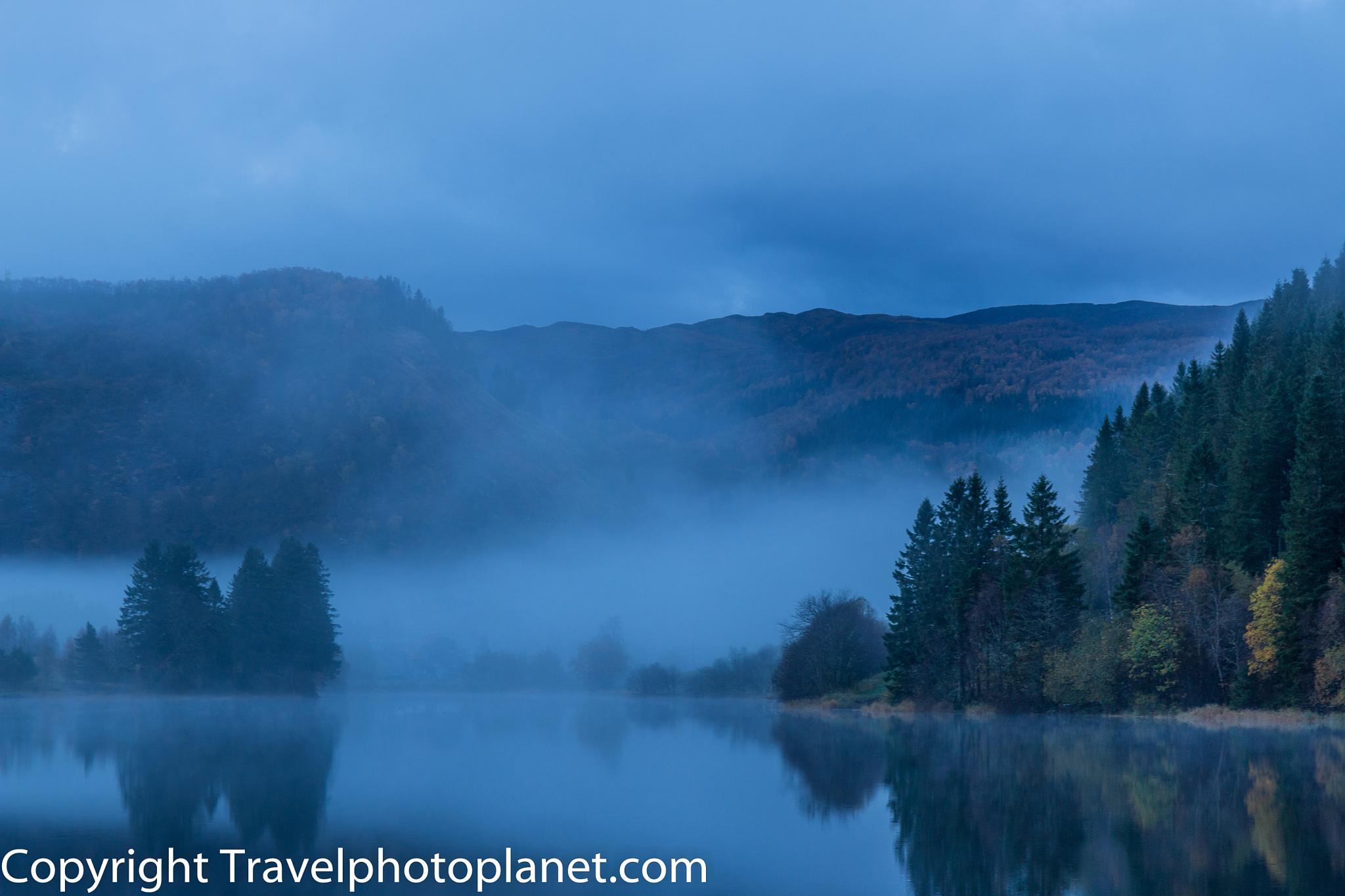 Photo in Landscape #fog #misty #lake #autumn #bergen #norway #gaupåsvatnet