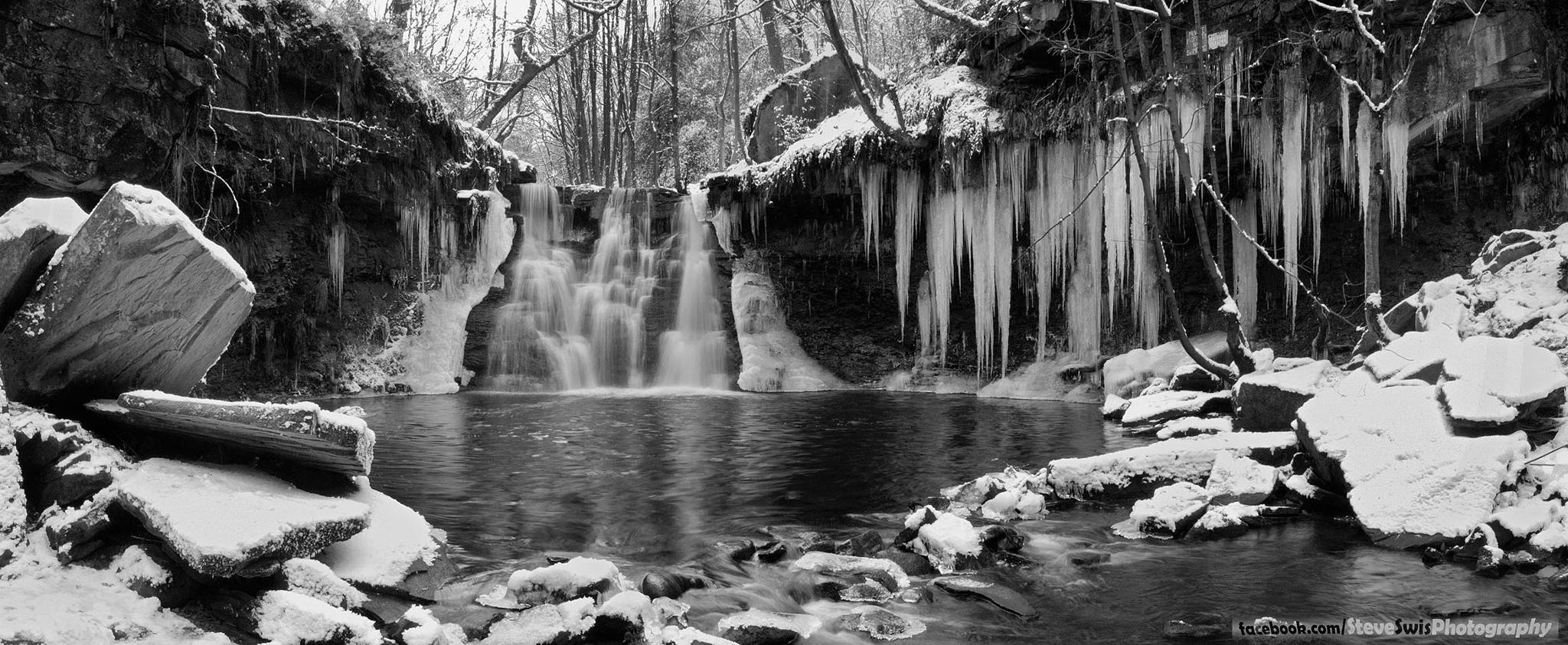 Photo in Landscape #goit stock falls #bradford #yorkshire #icicles #ice #water #waterfall #black and white