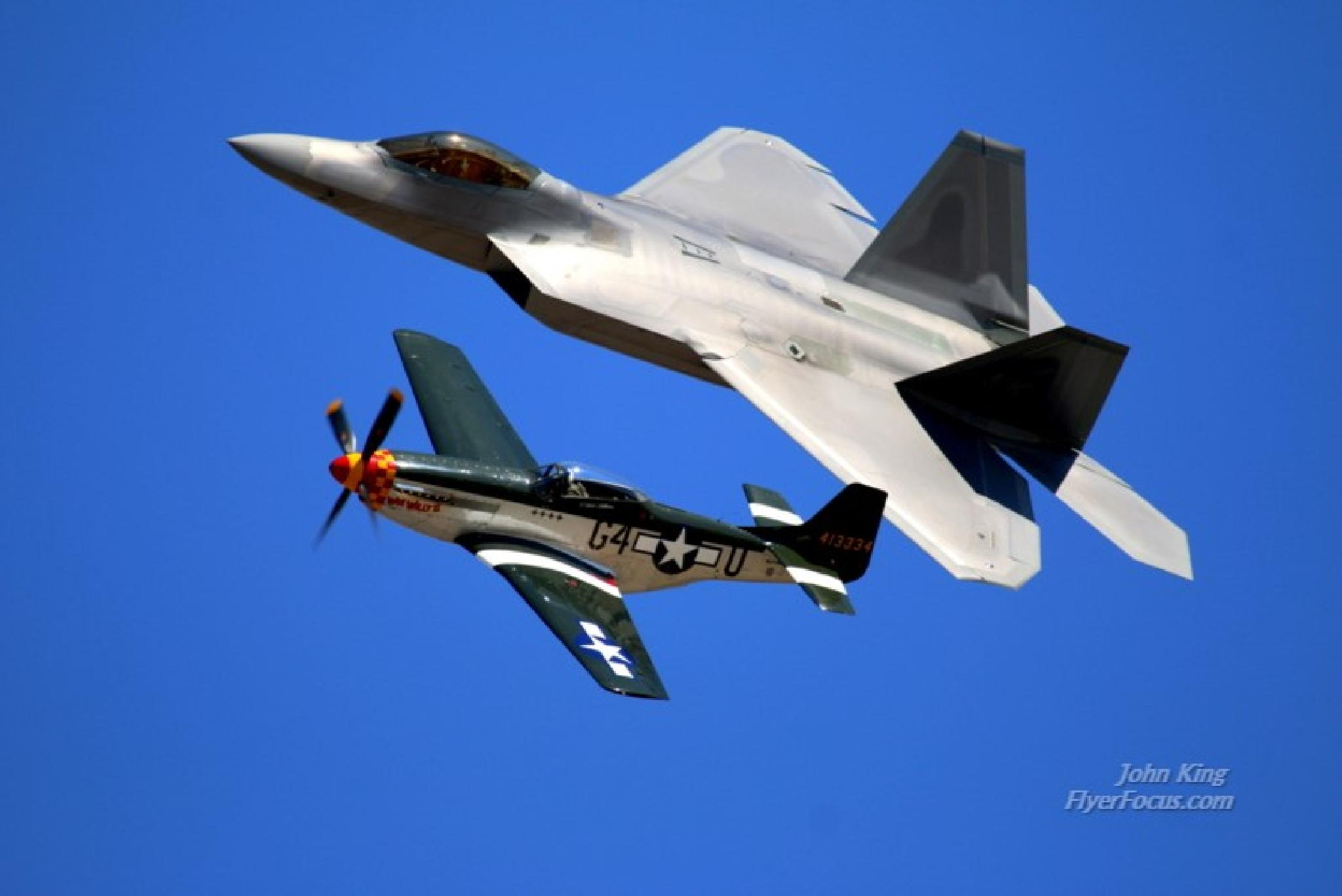 P51 Mustang and F22 Stealth Raptor at Reno Air Races' Heritage Flight by John King