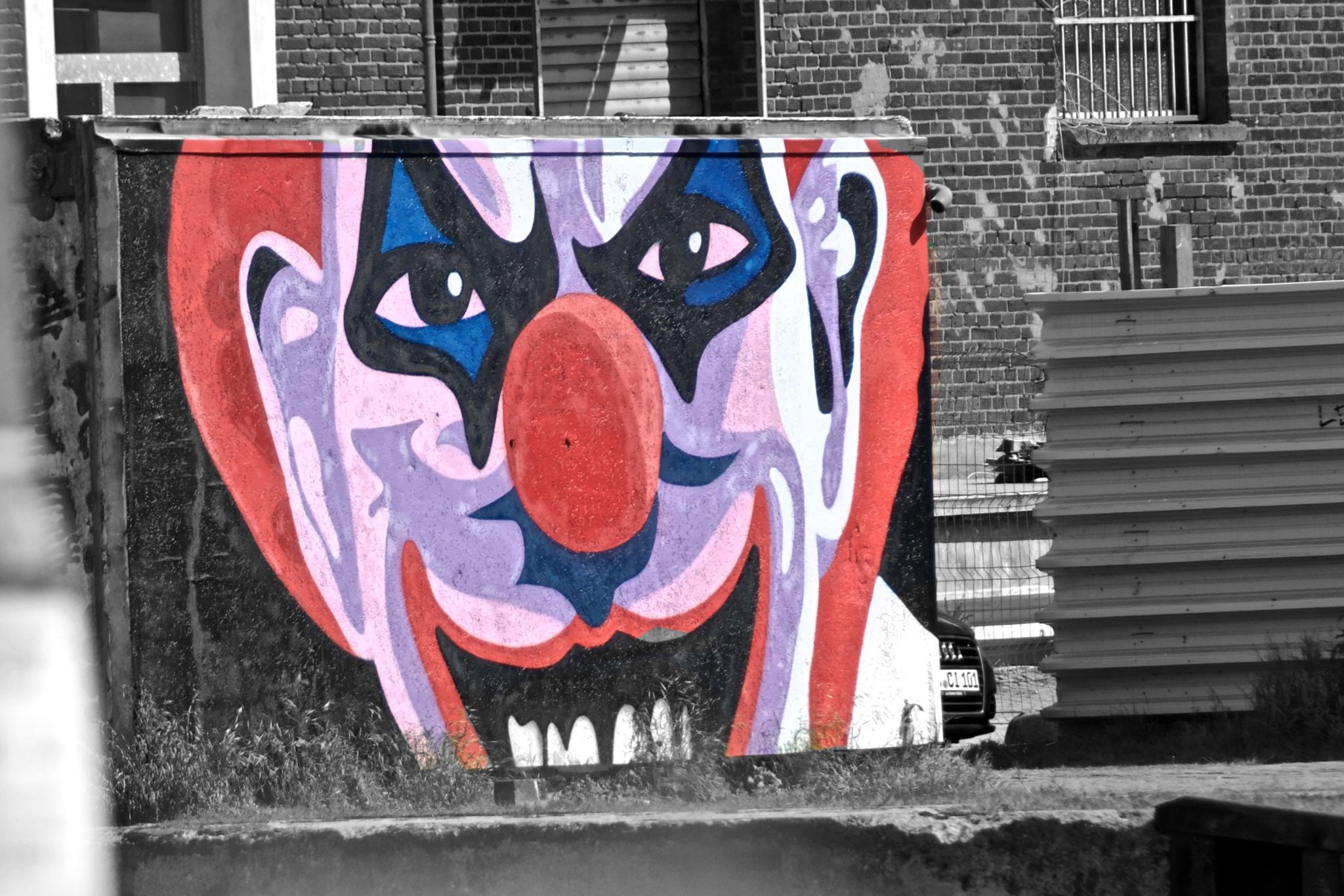 Photo in Random #grafitti #clown #bw #sw #spray