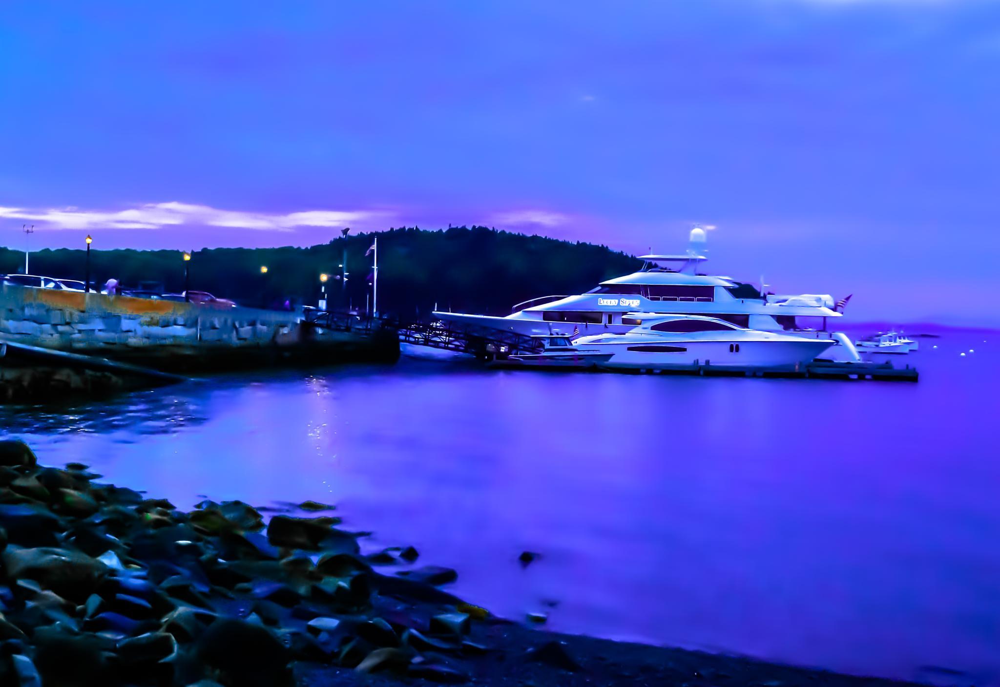 Photo in Landscape #yacht #ocean #maine #barharbor #sea #boat #night