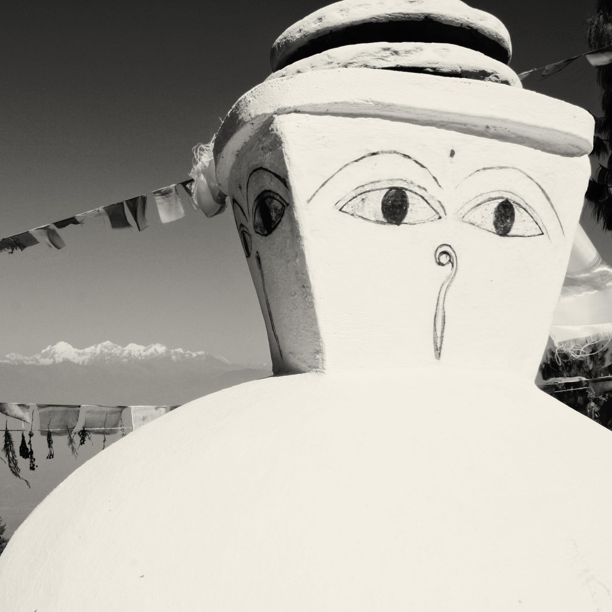 Photo in Black and White #buddha #buddism #kakaki #shanti #nepal #peace #bw #blackandwhite #eyes