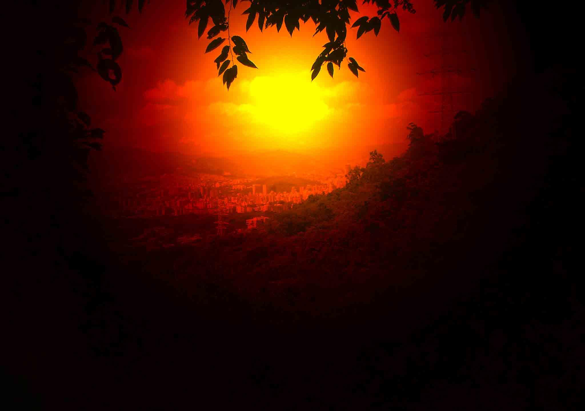 Photo in Landscape #sun #red #night #mountain #city