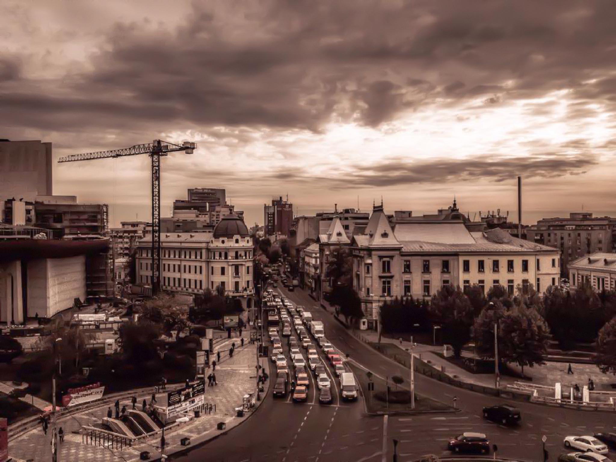 Photo in Urban #bucharest #romania #sunrise #traffic #architecture #old #city