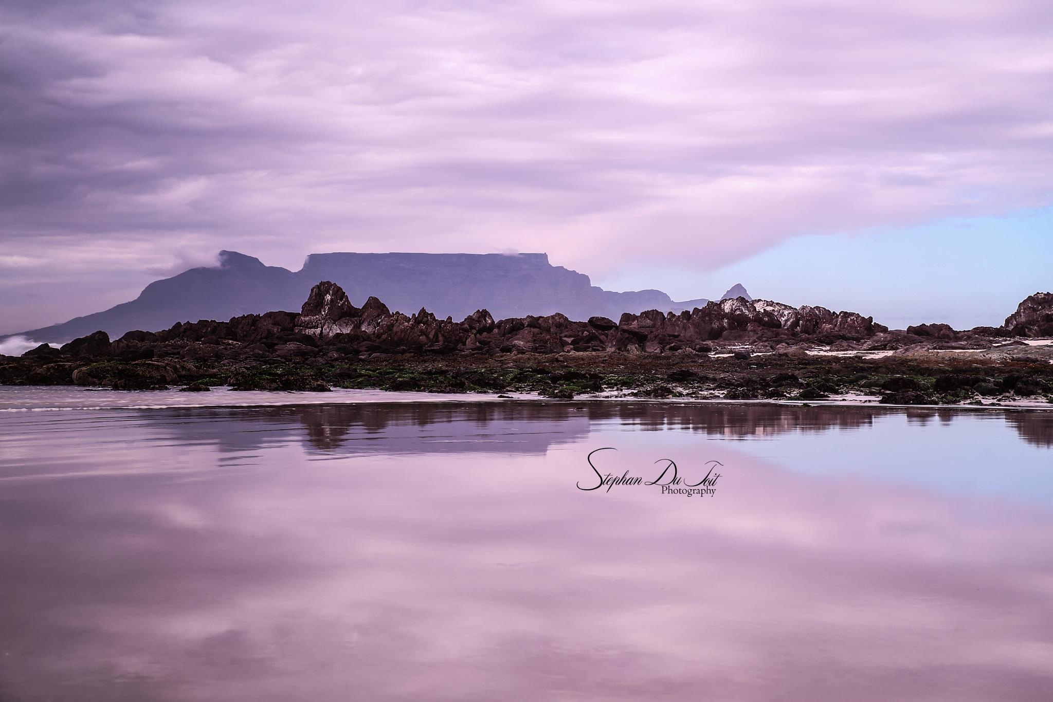 Photo in Landscape #mountain #table mountain #beach #reflection