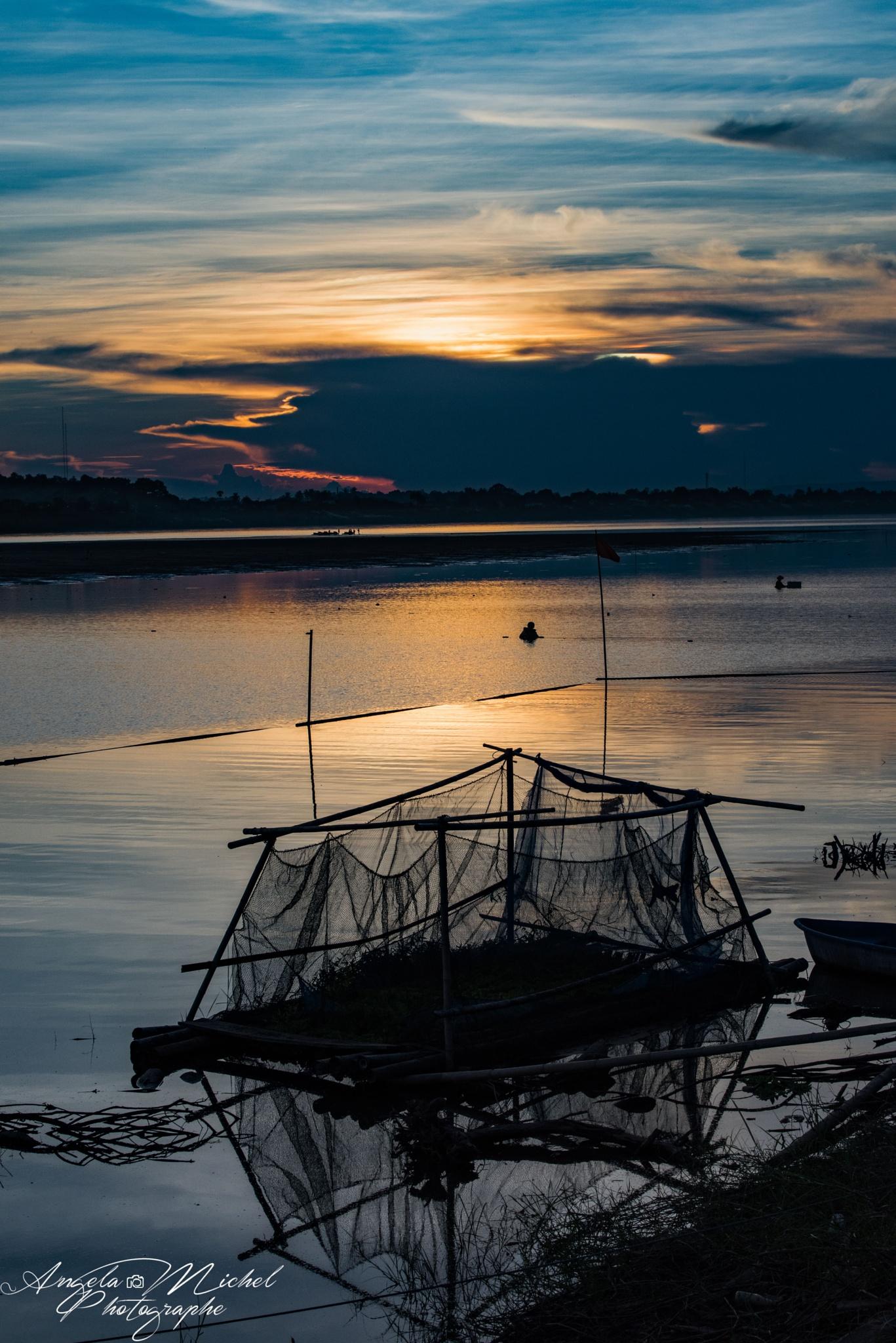 Sunset Mekong  by Angela.michel