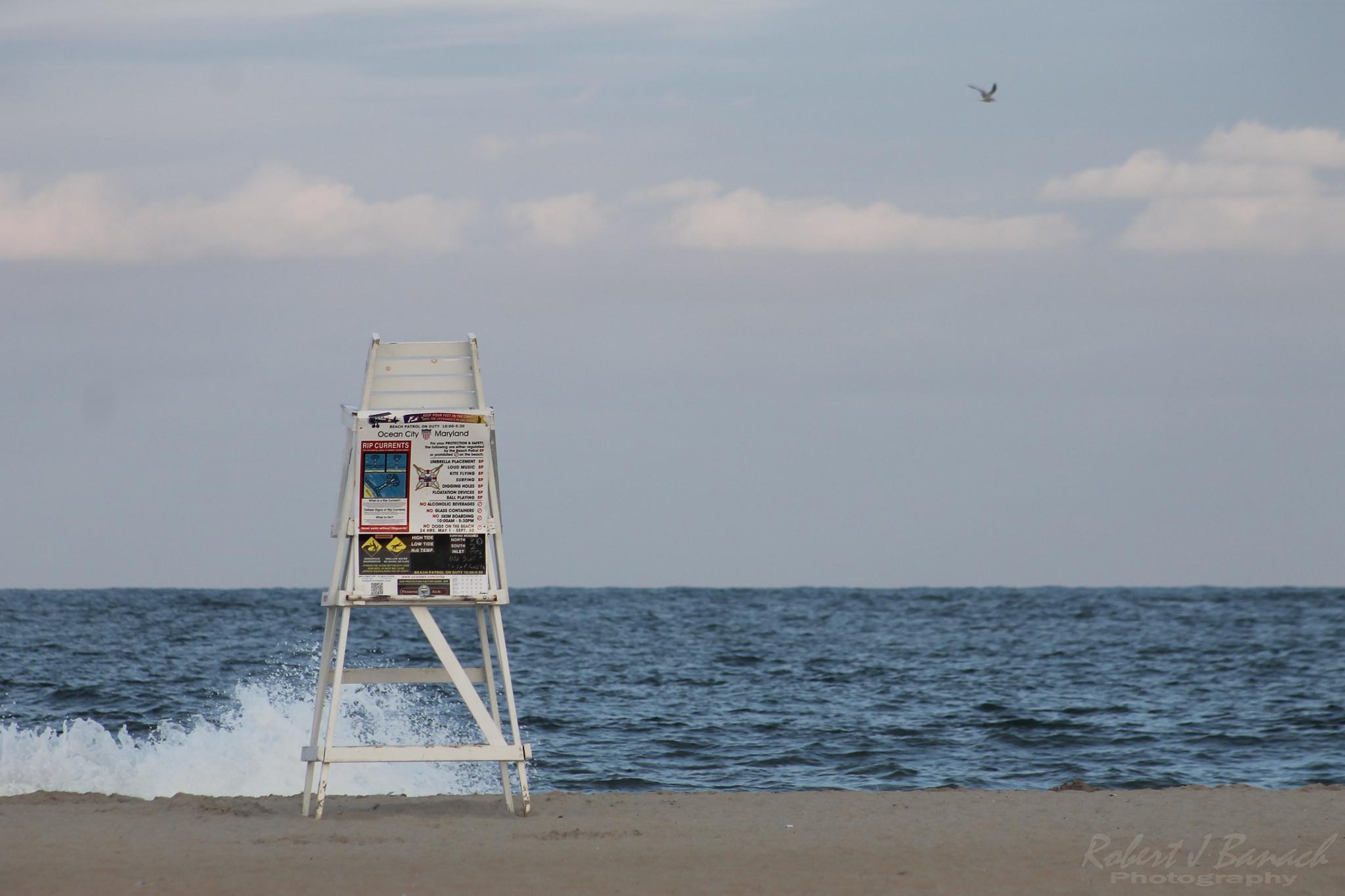 Photo in Sea and Sand #atlantic ocean #lifeguard stand #sand #beach #seashore #horizon #seascape