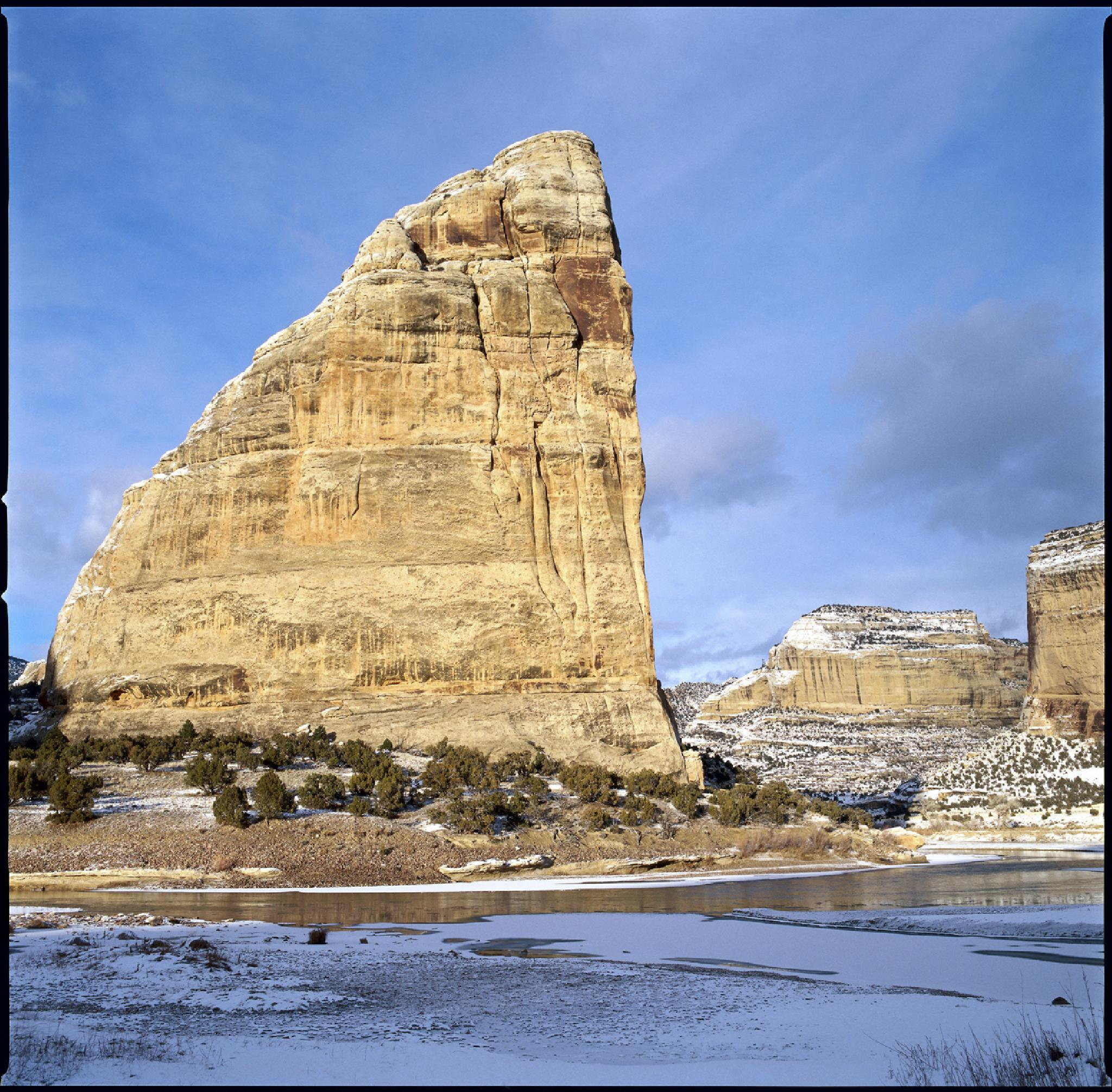 Steamboat Rock at Echo Park Dinosaur NP by Larry Lorusso