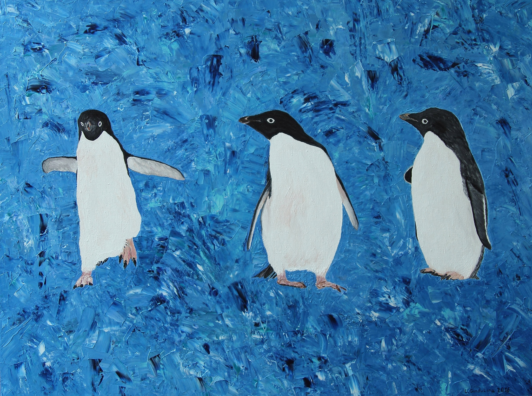 Penguins. Oil & canvas, 90 x 120 cm. by LudmilaGindulina