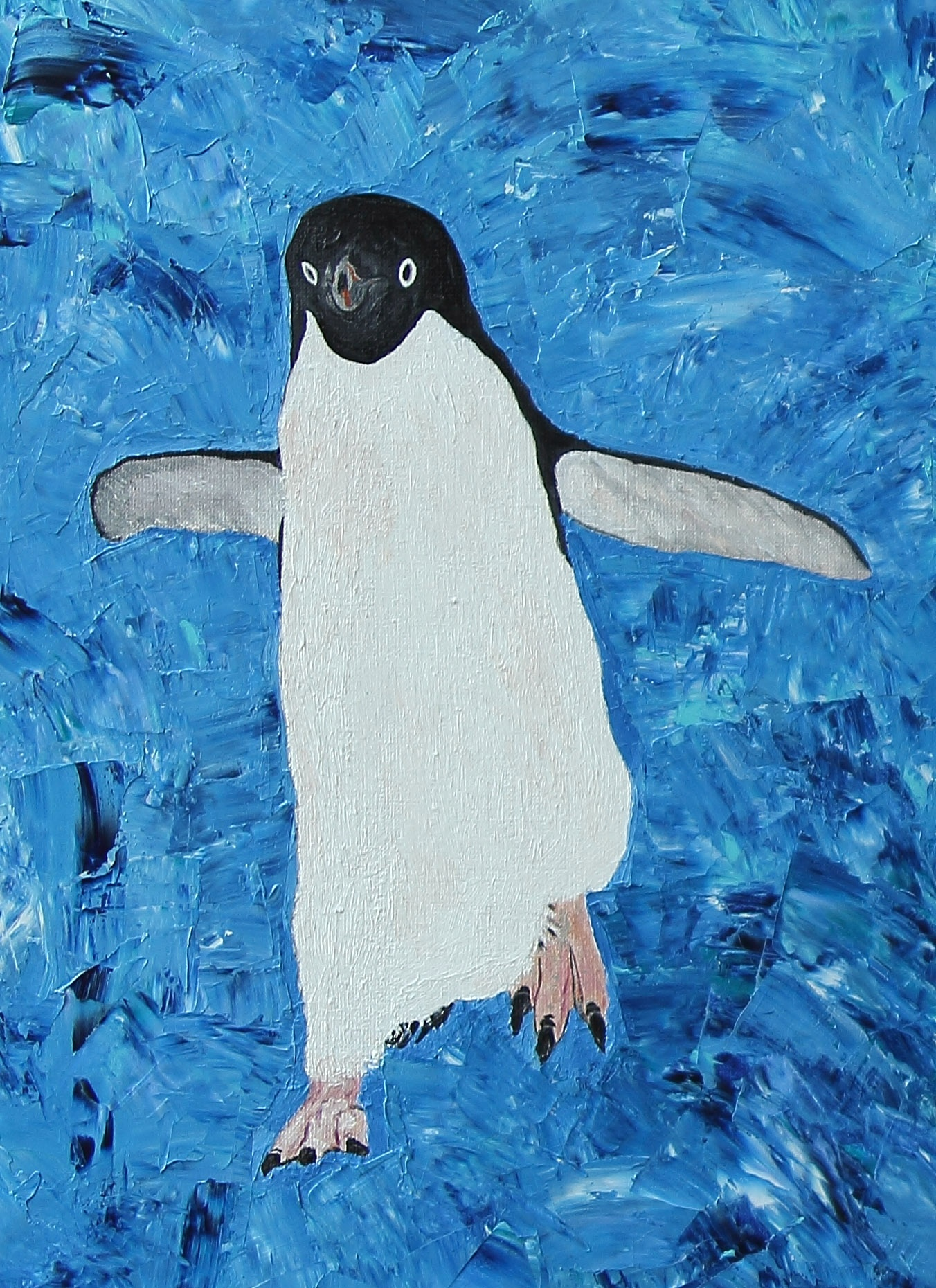 Penguins. Detail. Oil & canvas, 90 x 120 cm. by LudmilaGindulina