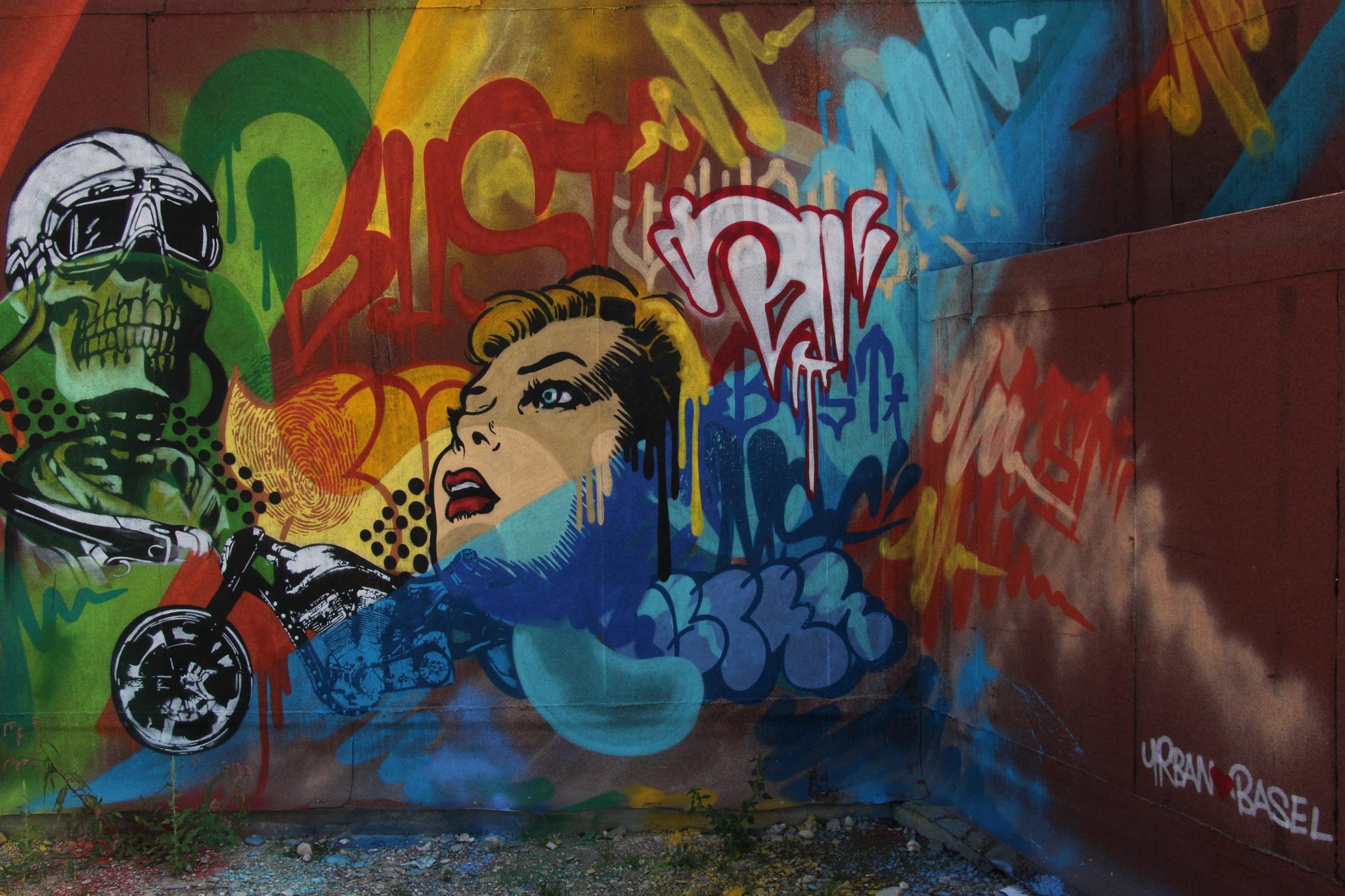 Colorful graffiti along the Rhein in Basel   by wimederveen