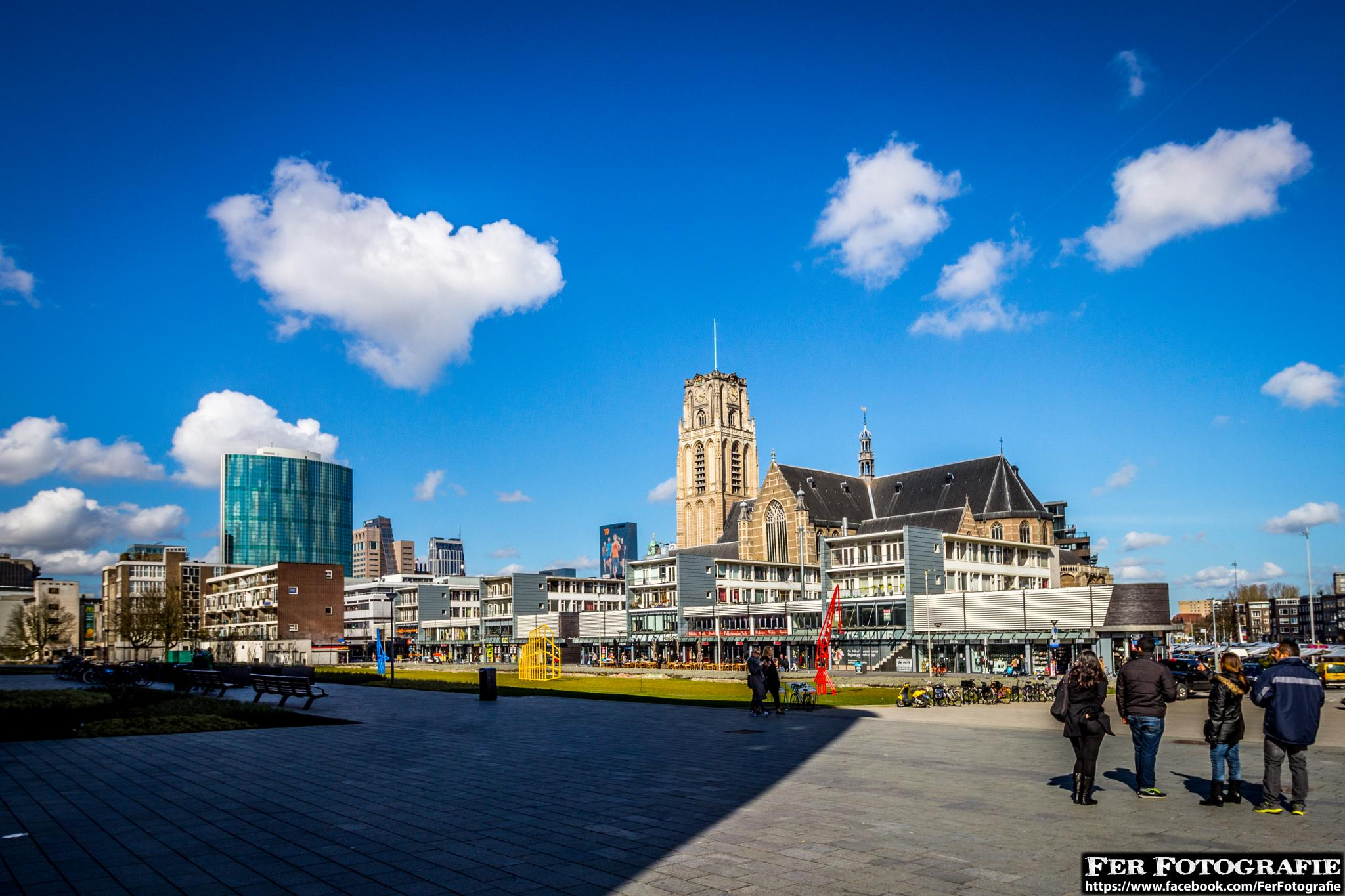 Rotterdam City Center view from Blaak by Fer Herwaarden