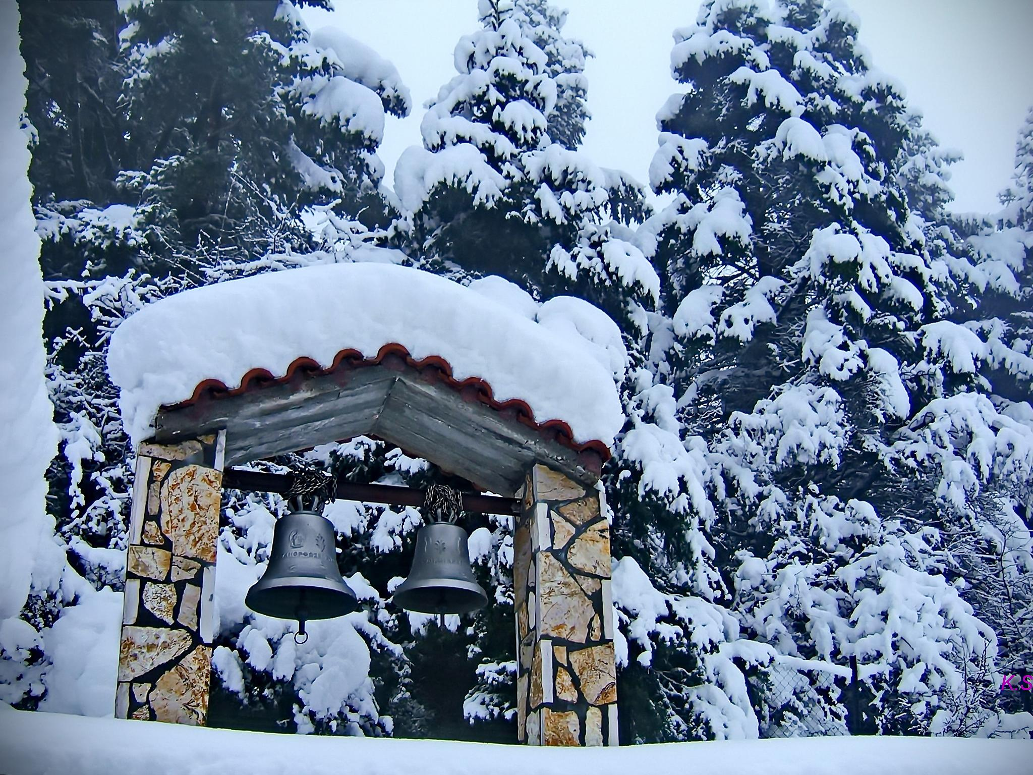 church covered by thick snow in Lafka Korinthias,Greece by Katherine.Soulis