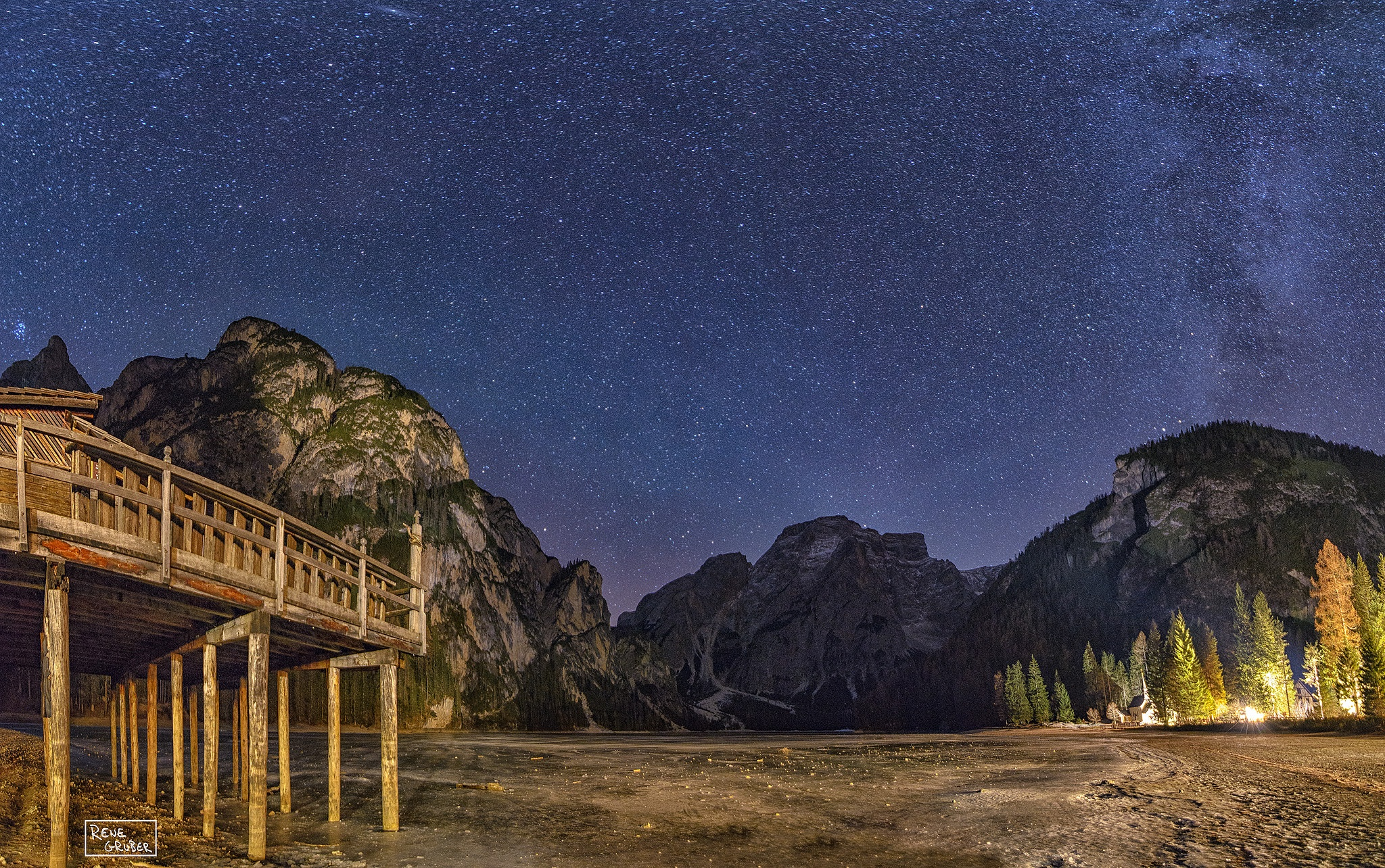 Lake Braies under the stars by Rene Gruber