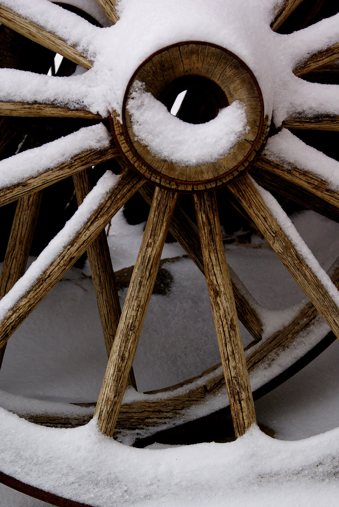 Wagon Wheels, With Snow by Stefani Madison