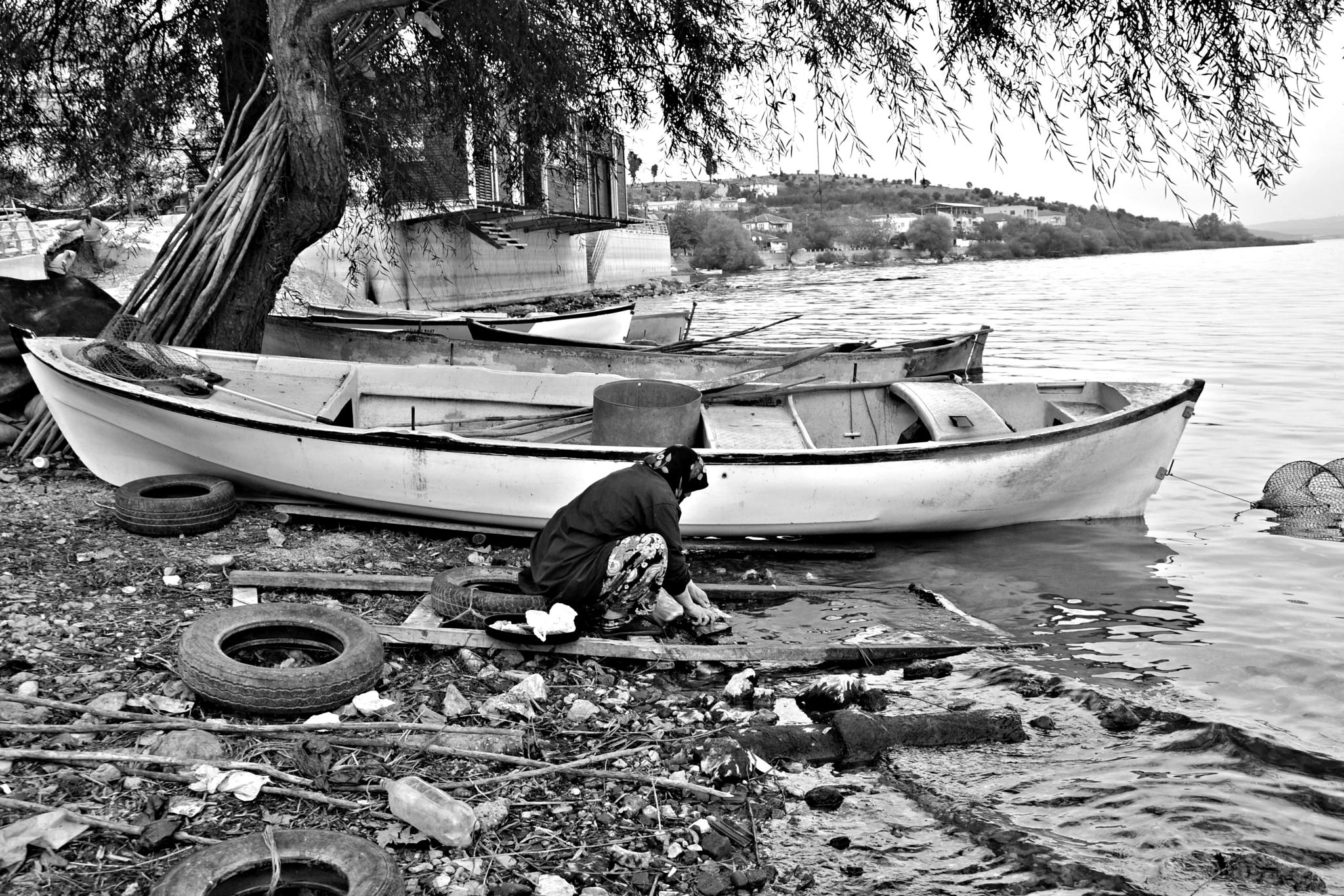 Skinning out fish. by A.Hikmet Karaca
