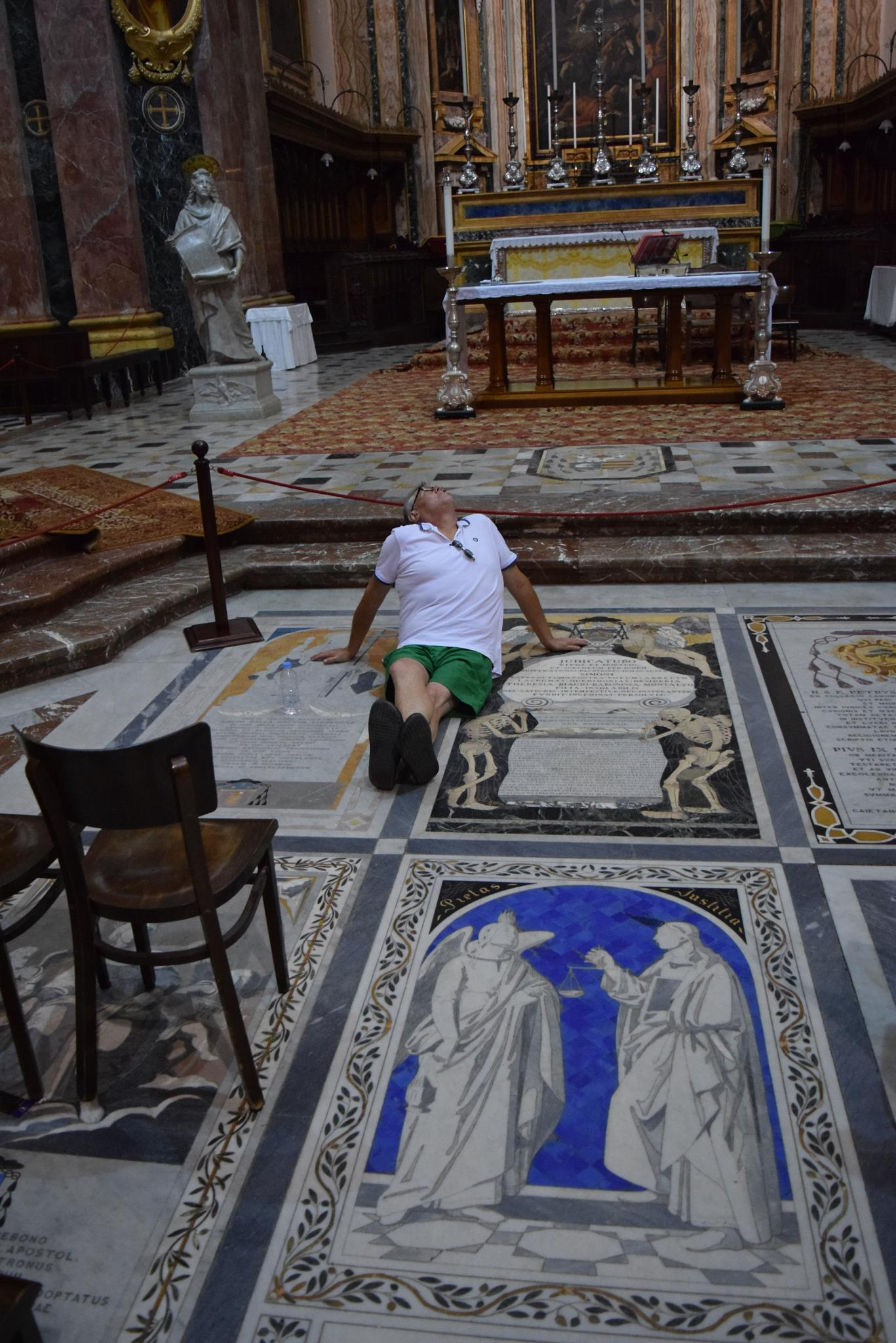 only micky would lie on the floor in church to look at the artwork on the ceiling by mick.acton1