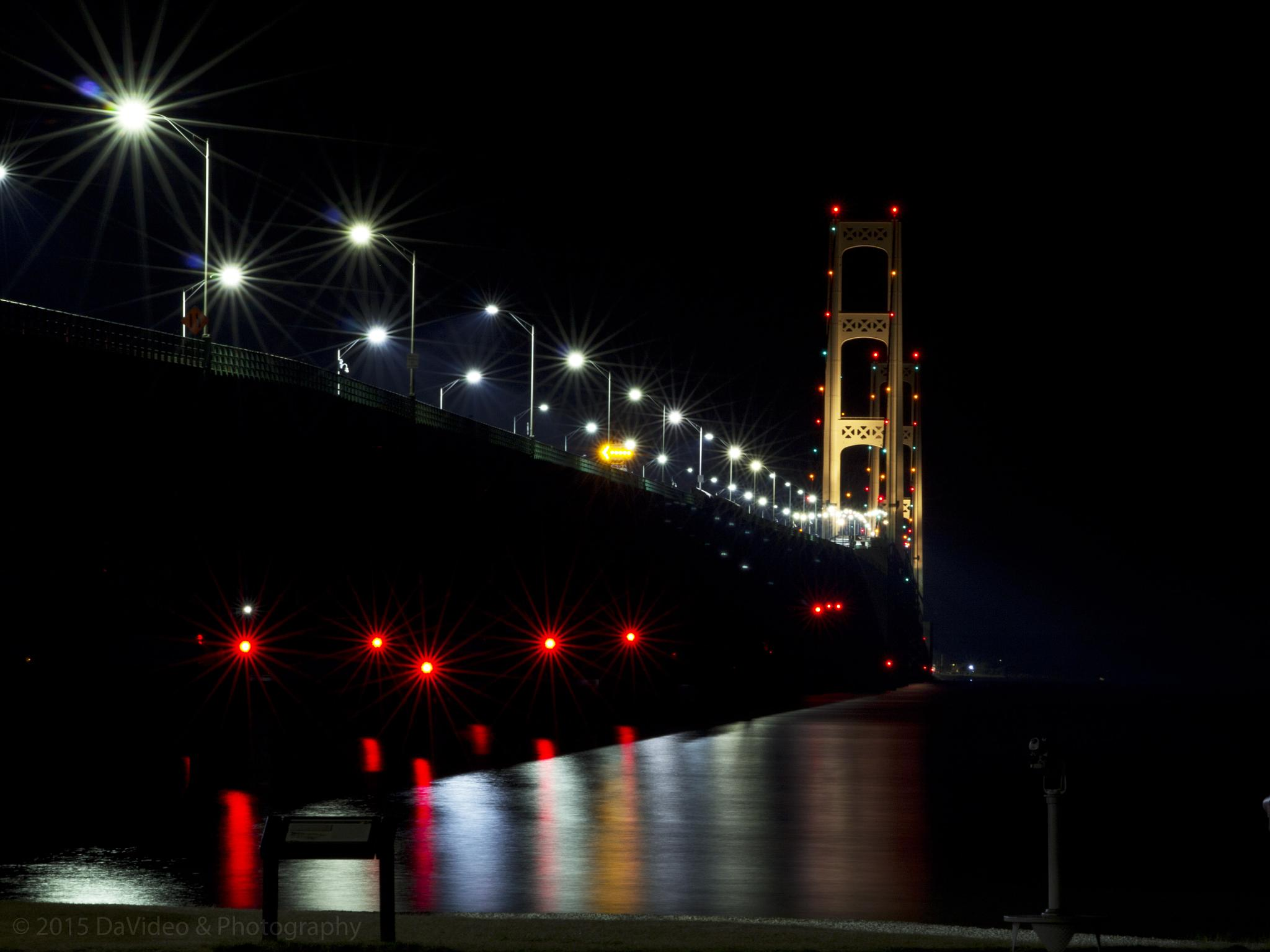 Mackinac Bridge at Night by dave.skorupski