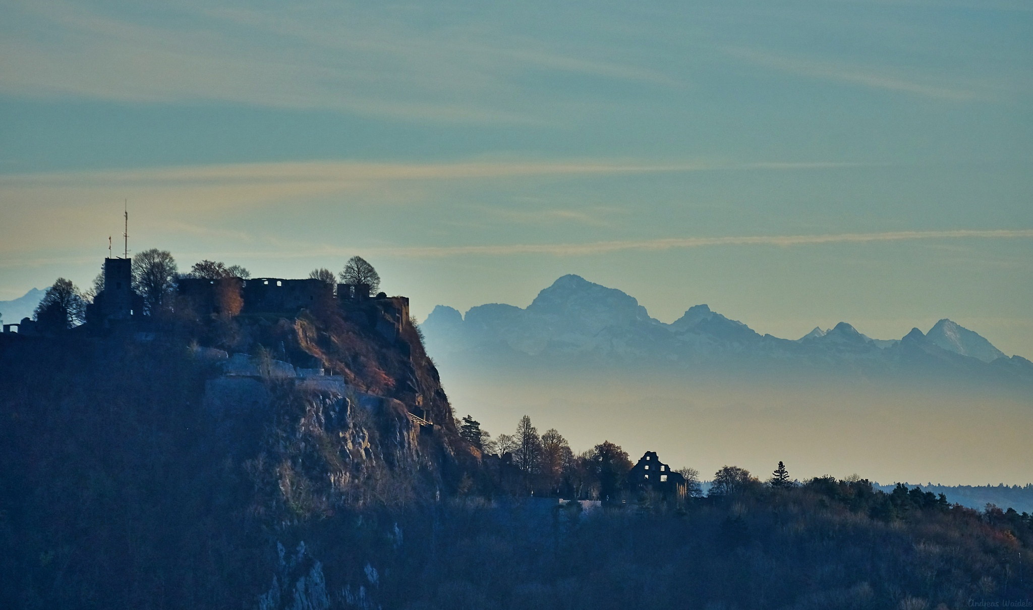 Hohentwiel in front of the swiss alps by anwai