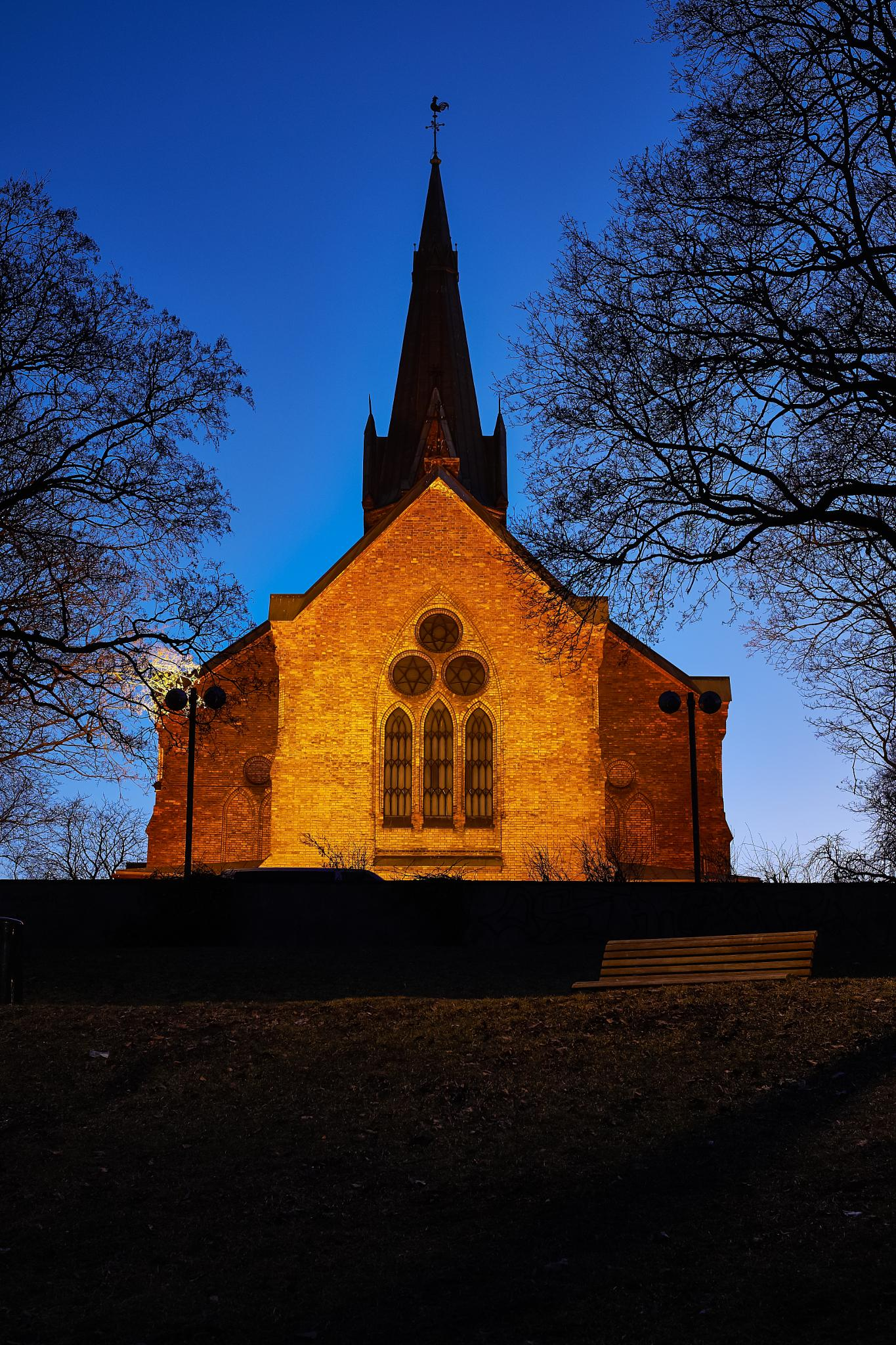Photo in Architecture #st. jacob's church #oslo #norway #blue hour #night shot