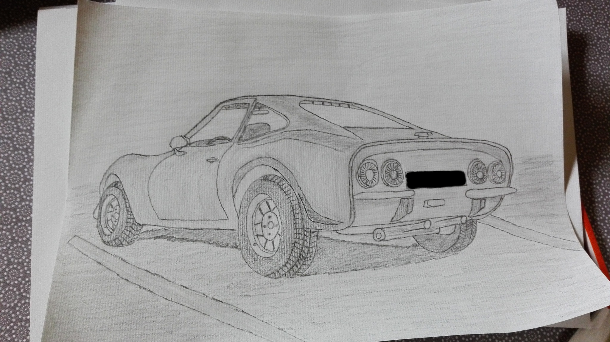 the beginning of my drawing of a car by Pascal Gottre