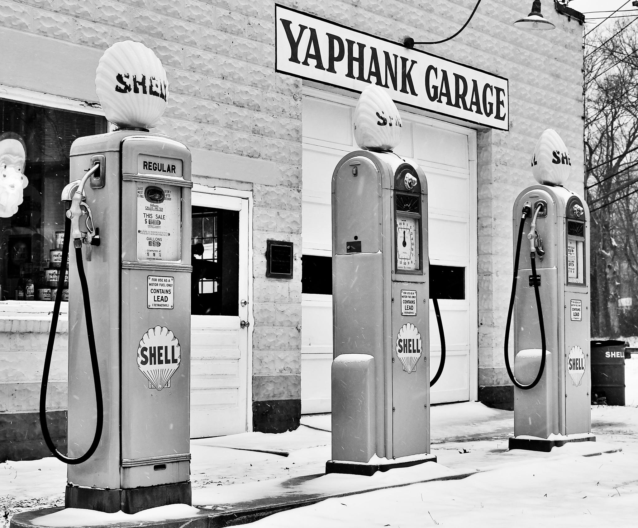 Vintage Shell Gas Pumps - Black and White by A Summer's Smile